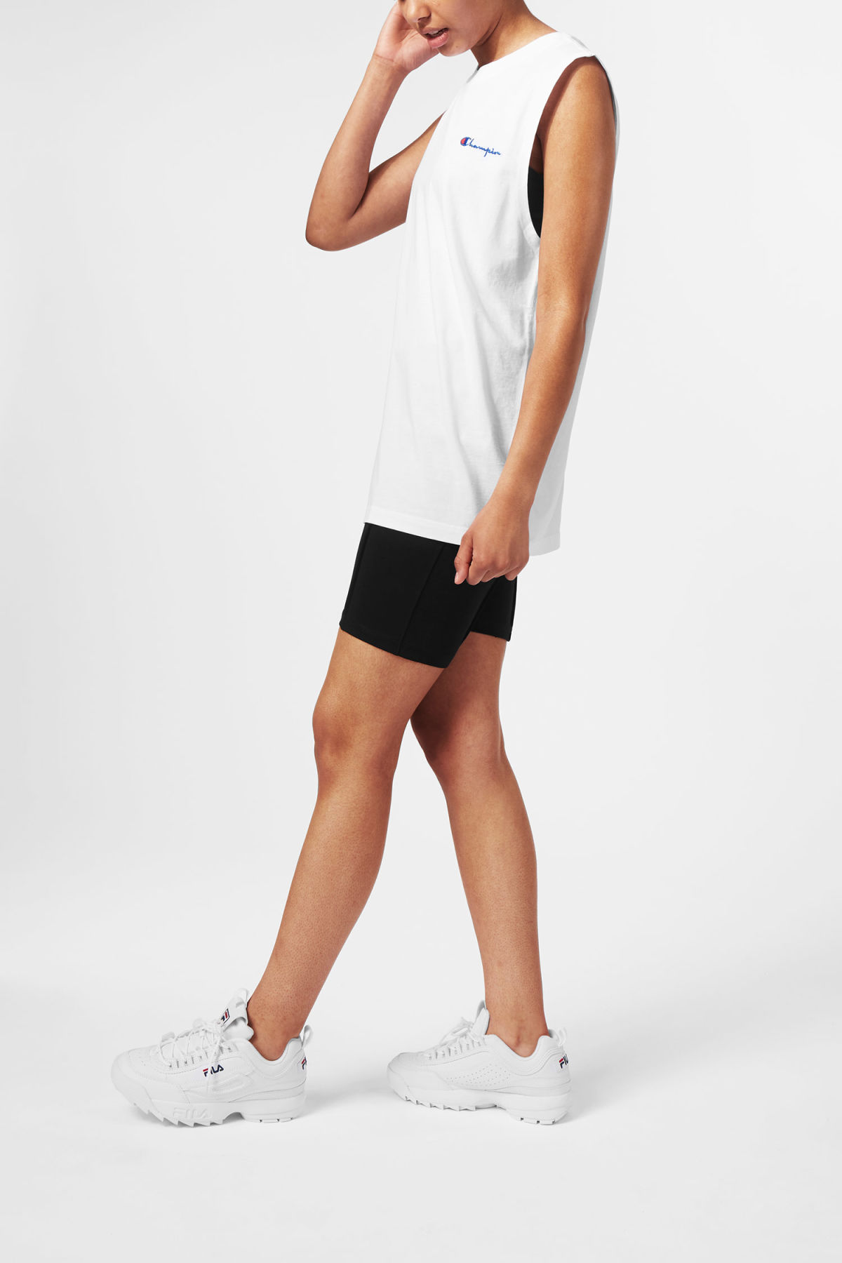 Model side image of Weekday dive tank top in white