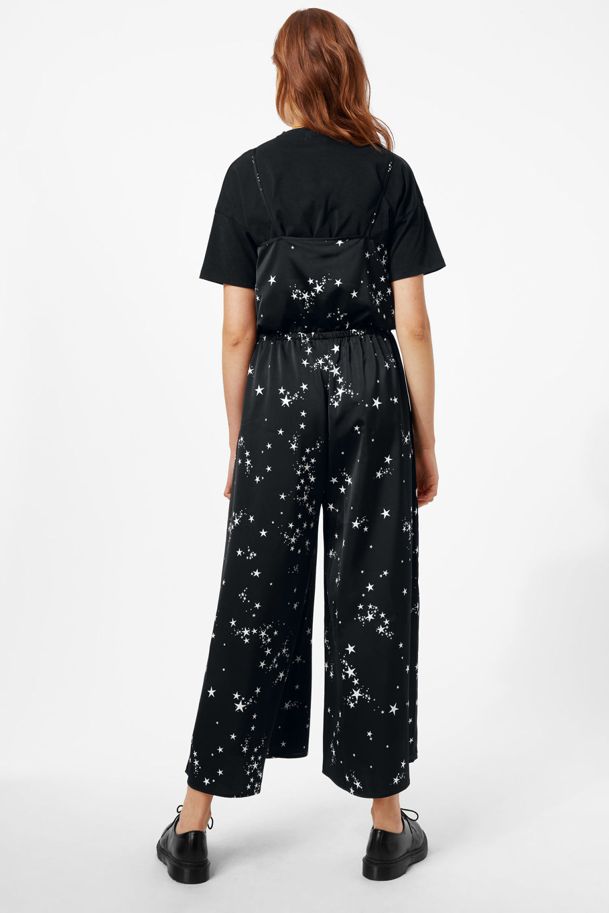 Model side image of Weekday marika jumpsuit in black