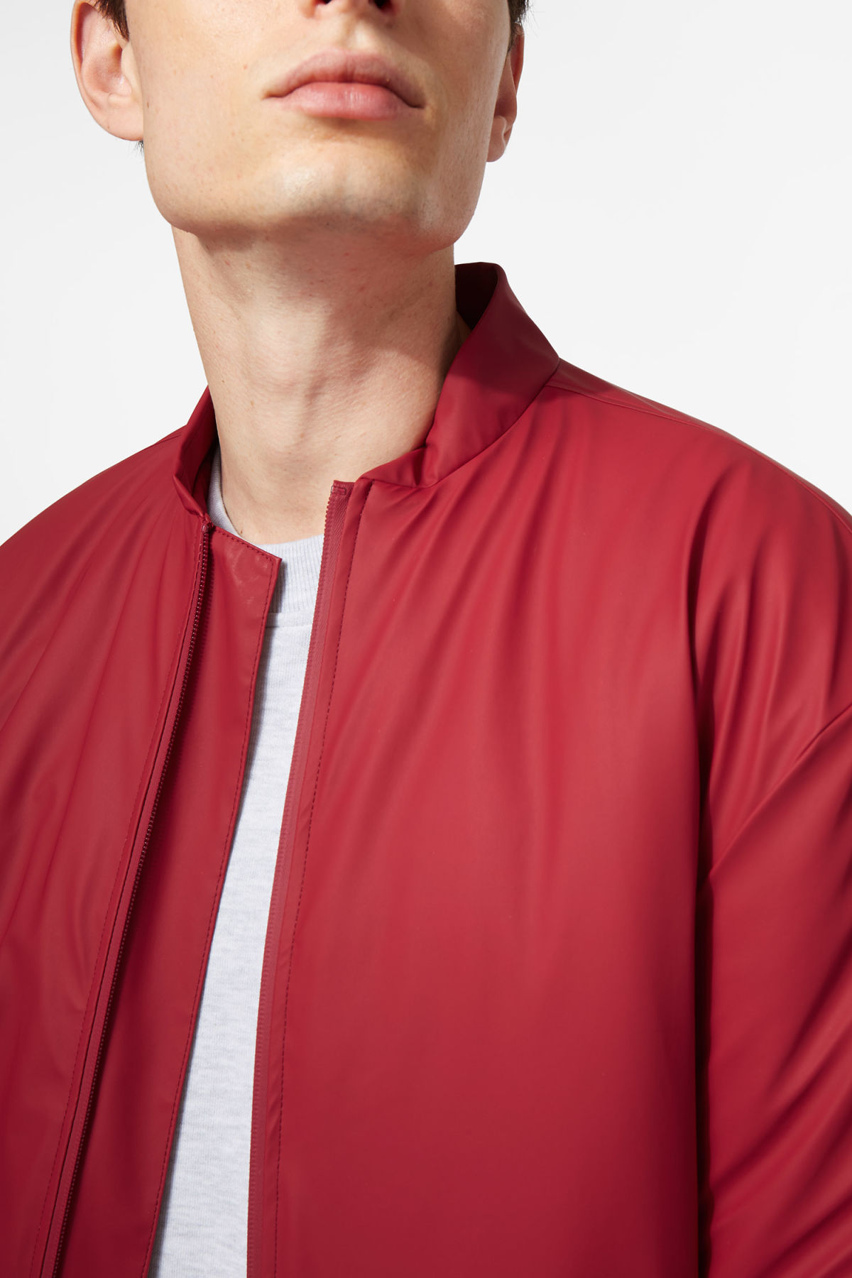 Model front image of Weekday bomber jacket in red