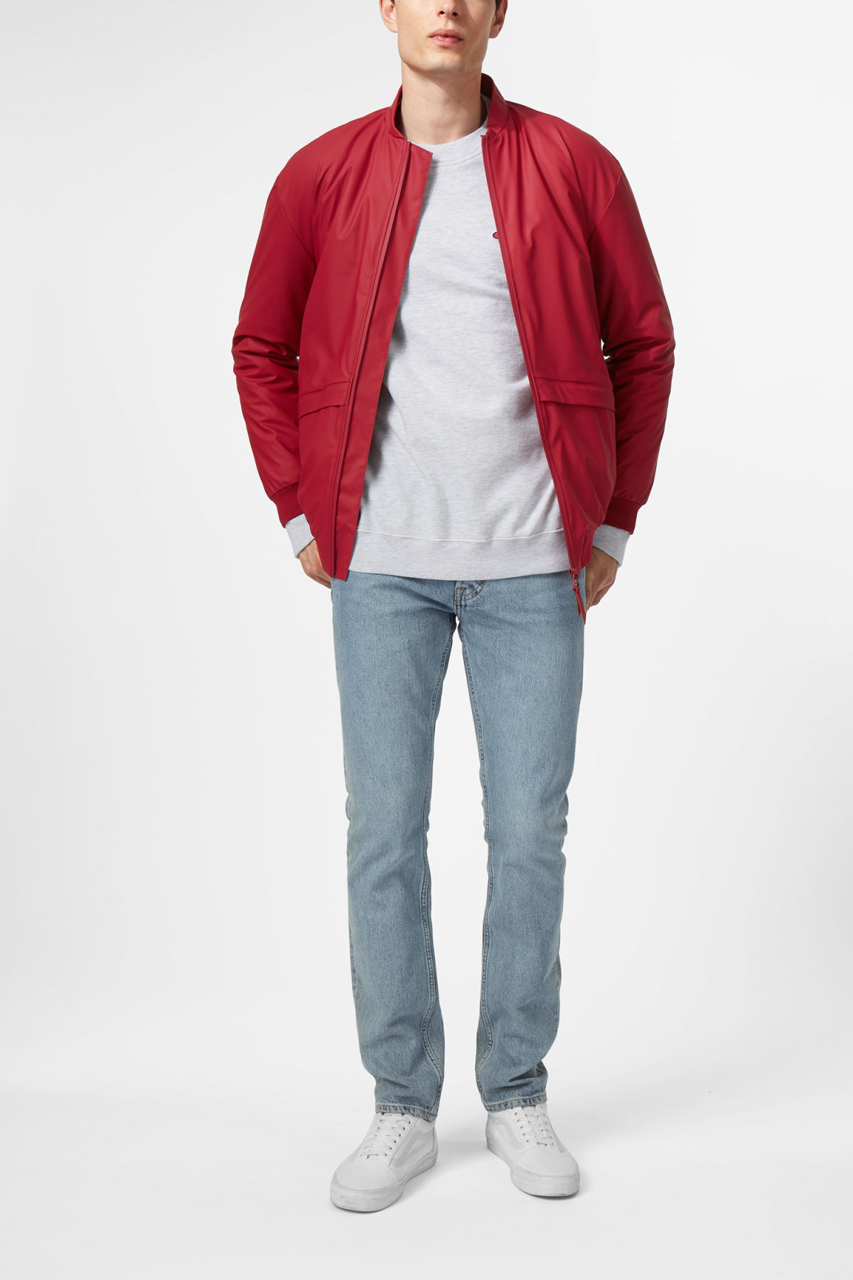 Model side image of Weekday bomber jacket in red