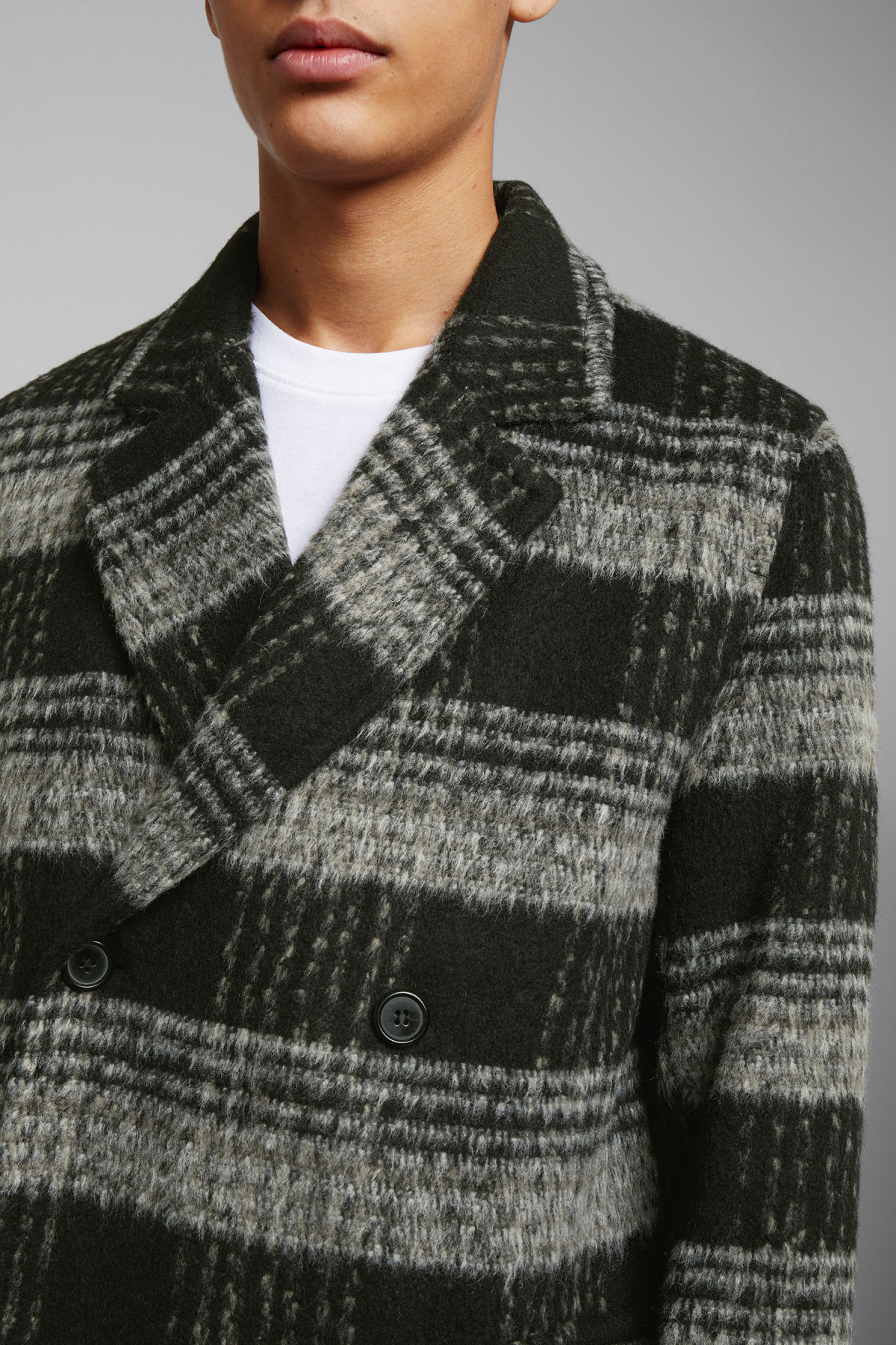 Model side image of Weekday tristan checked coat in black