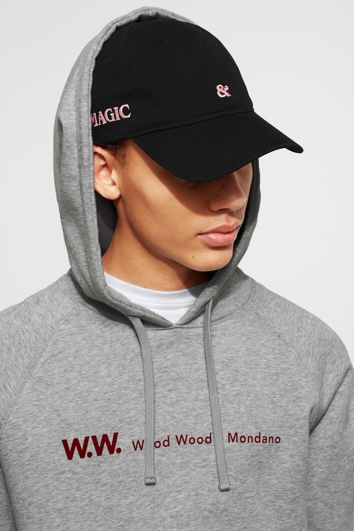 Model front image of Weekday low profile cap in black