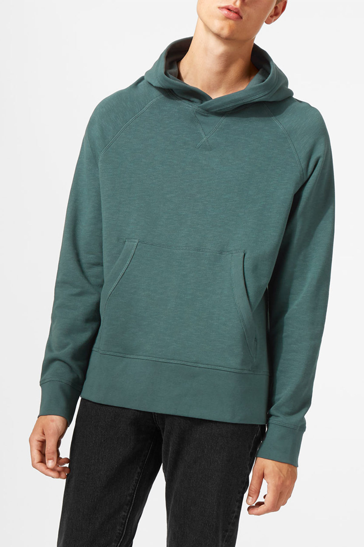 Model front image of Weekday noah hoodie in turquoise