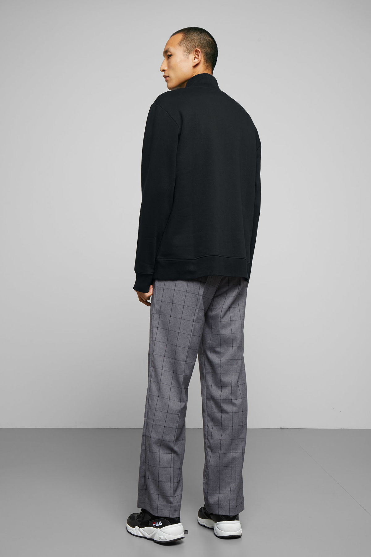Model side image of Weekday martin zip sweatshirt  in black