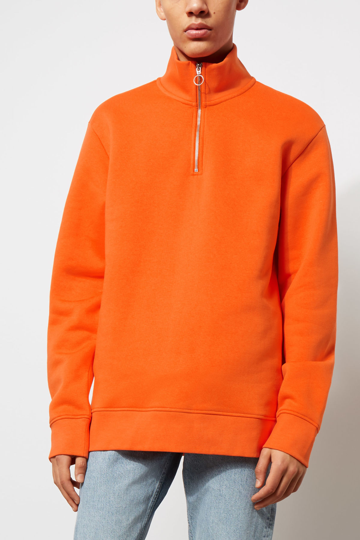 Model front image of Weekday martin zip sweatshirt  in orange