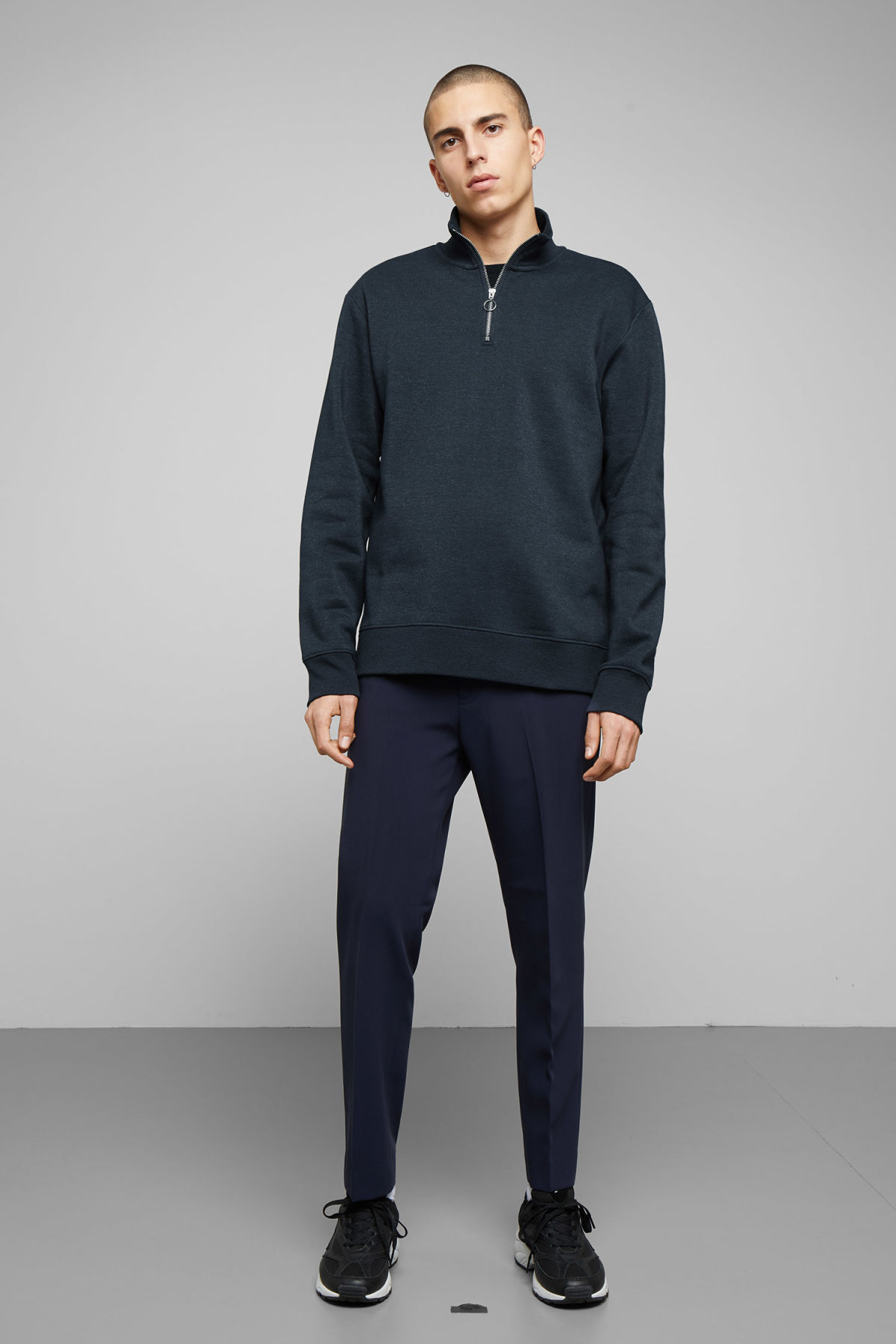 Model side image of Weekday martin zip sweatshirt  in blue