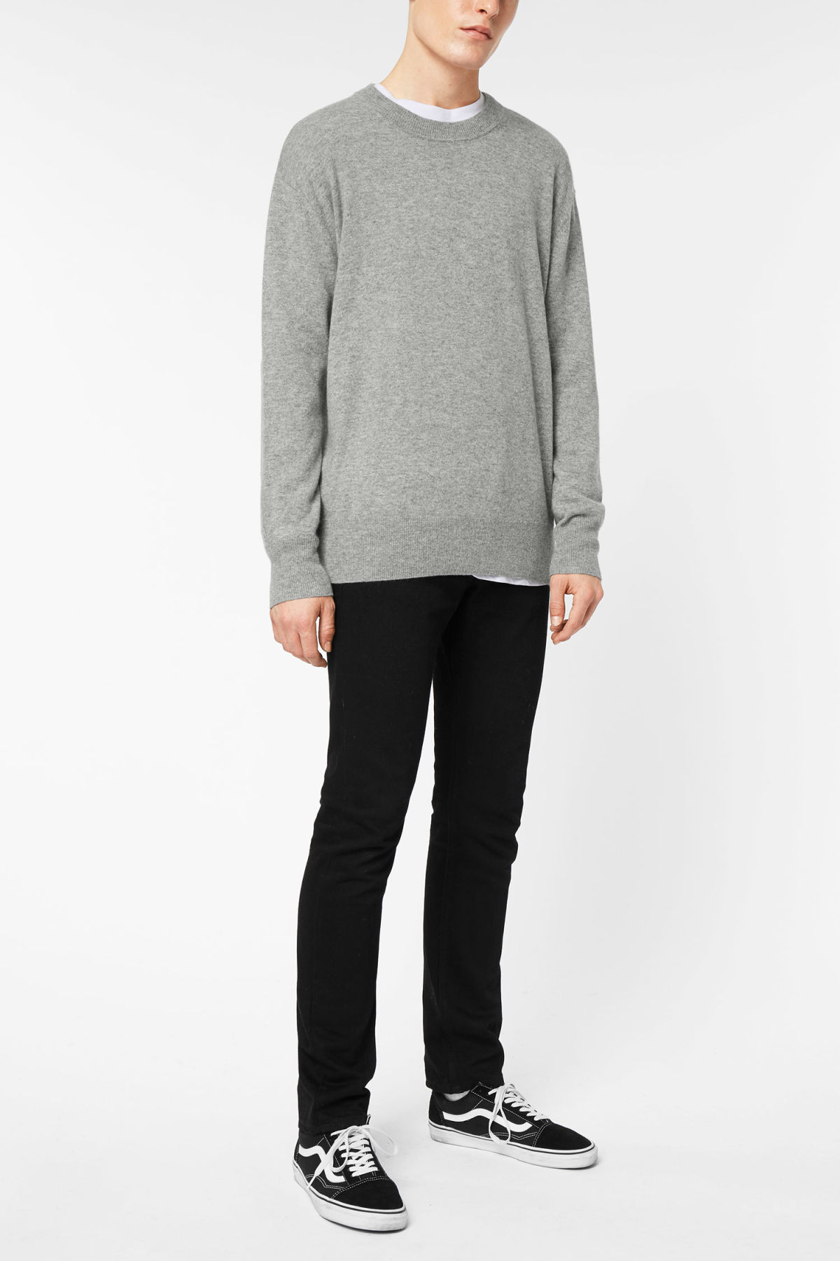Model side image of Weekday earl cashmere sweater in grey