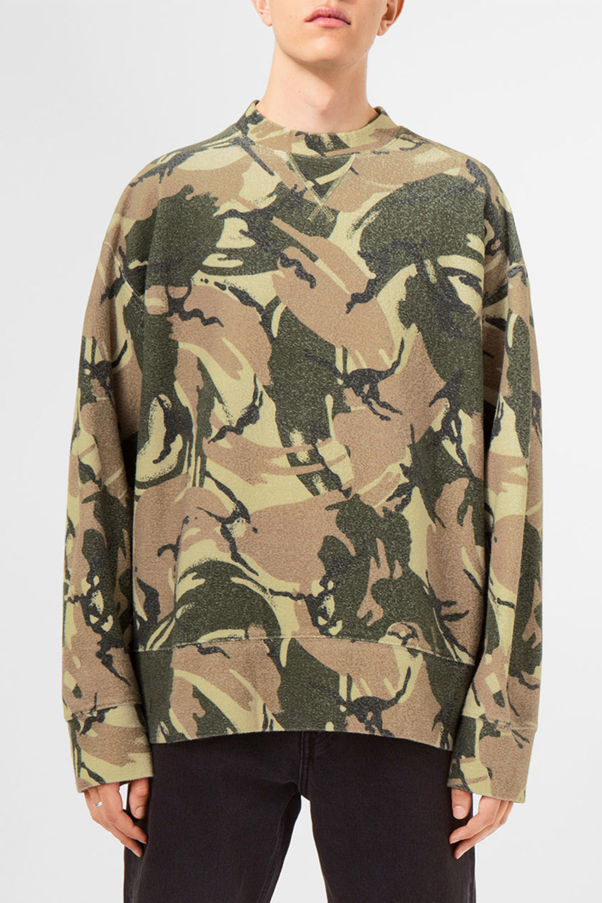 Model front image of Weekday kyle camo sweatshirt in green
