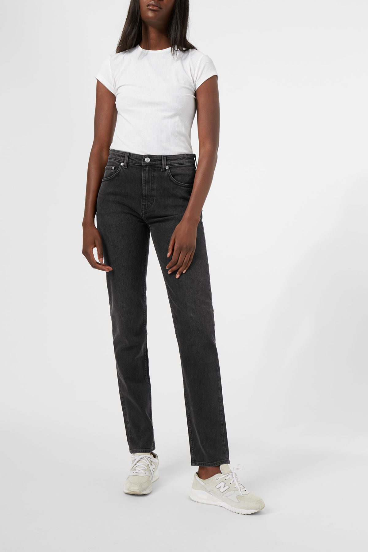 Model front image of Weekday seattle great black jeans in black