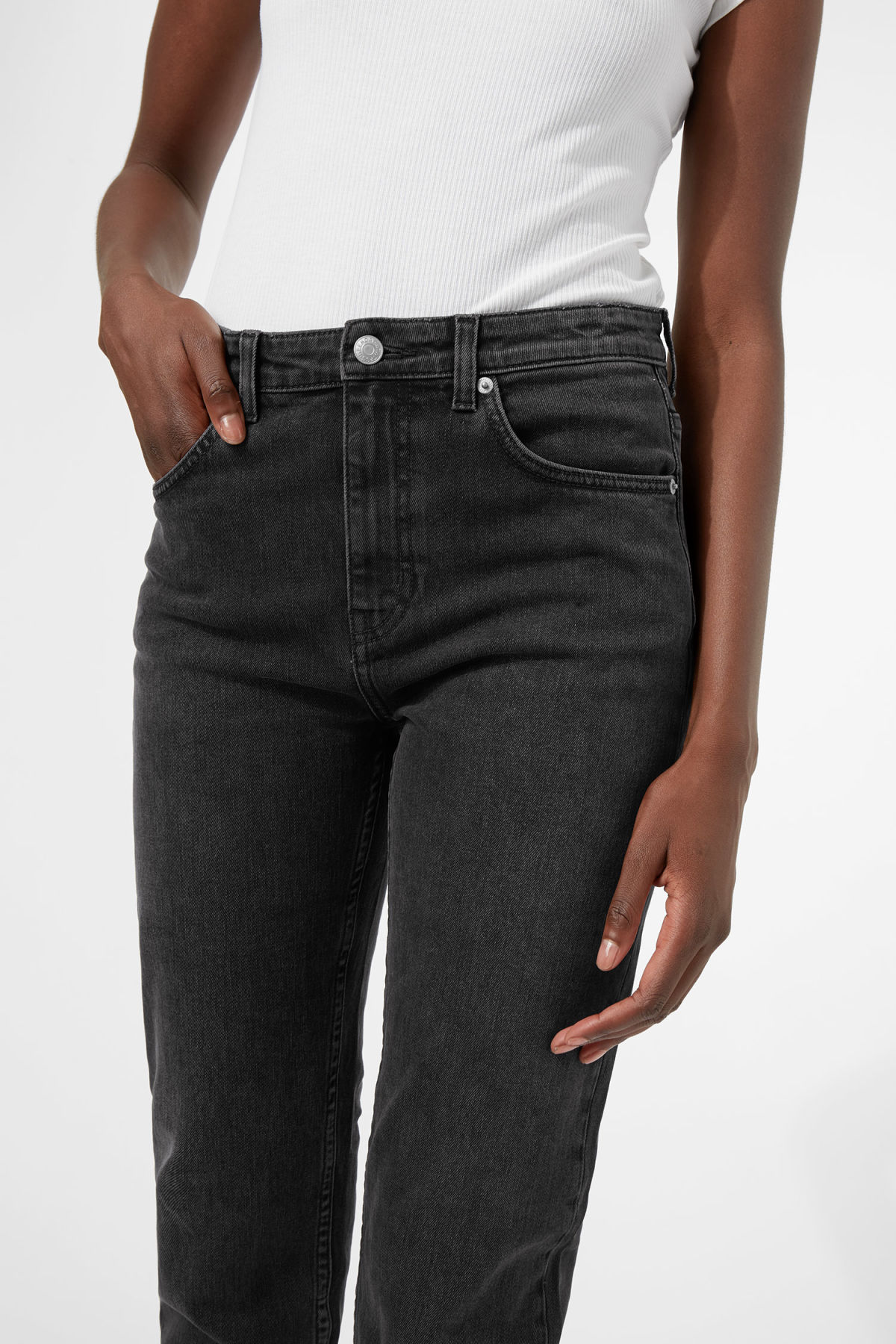 Model side image of Weekday seattle great black jeans in black