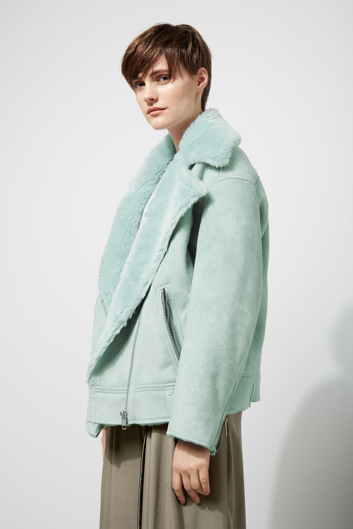 Model front image of Weekday nora jacket  in turquoise