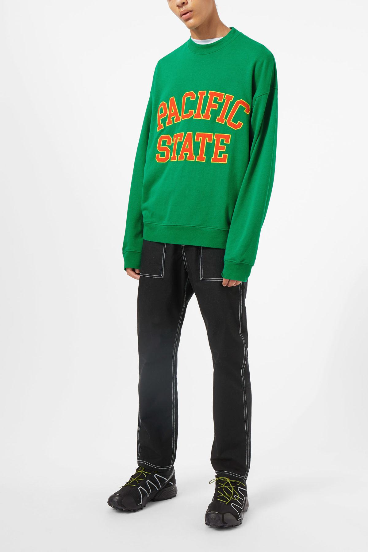 Model front image of Weekday big steve pacific sweatshirt in green
