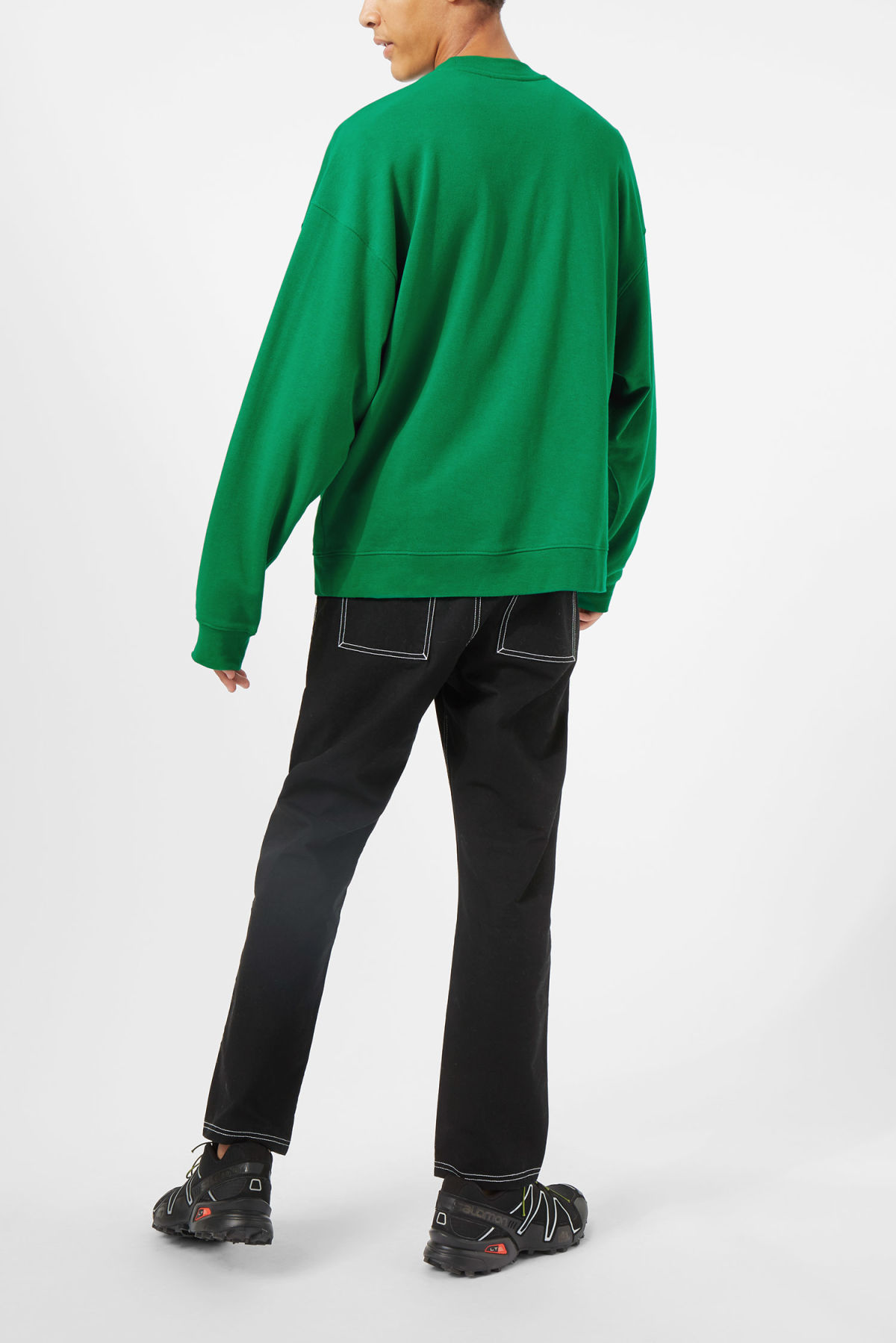 Model side image of Weekday big steve pacific sweatshirt in green