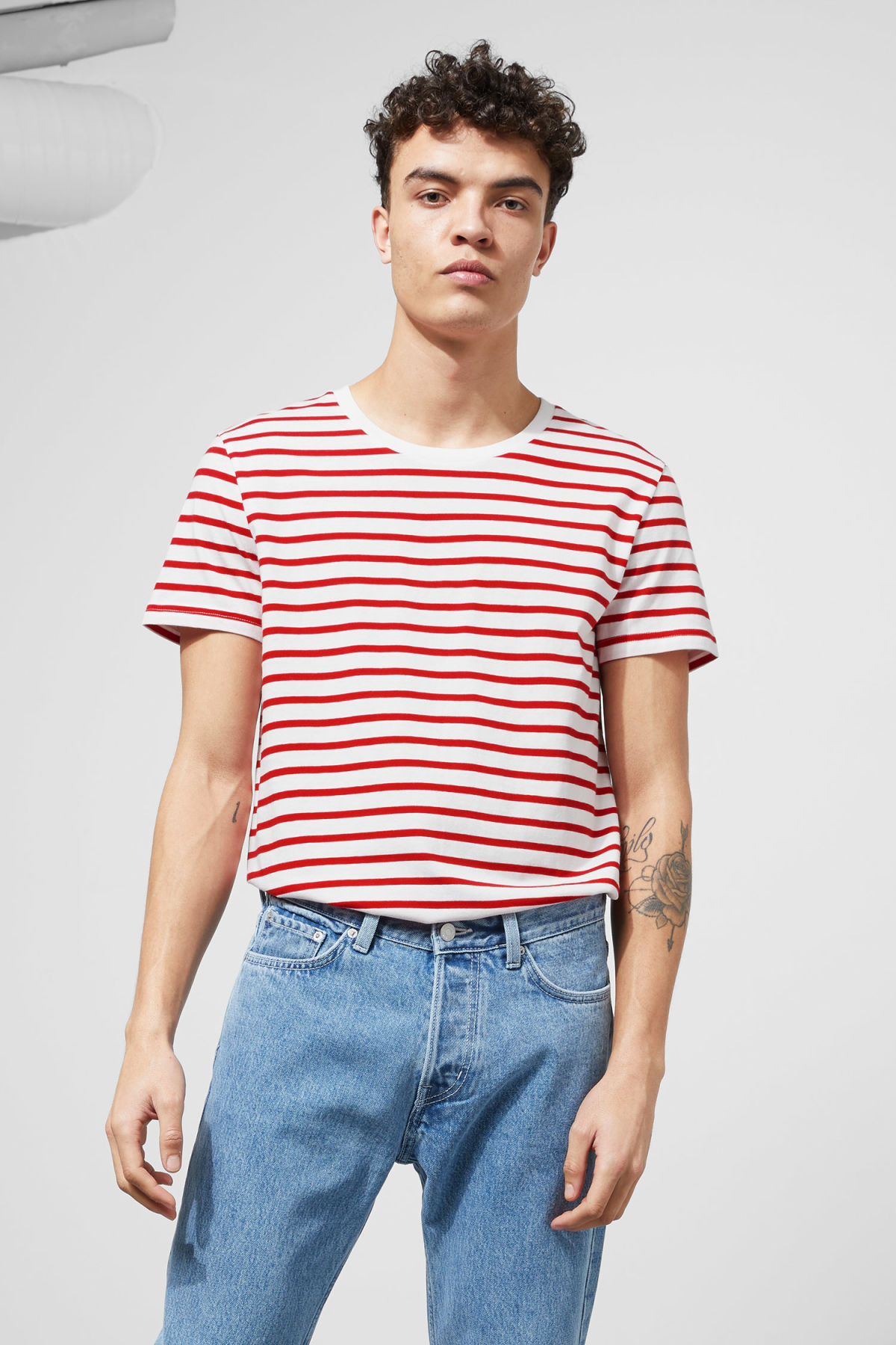 Model front image of Weekday alex stripe t-shirt in red