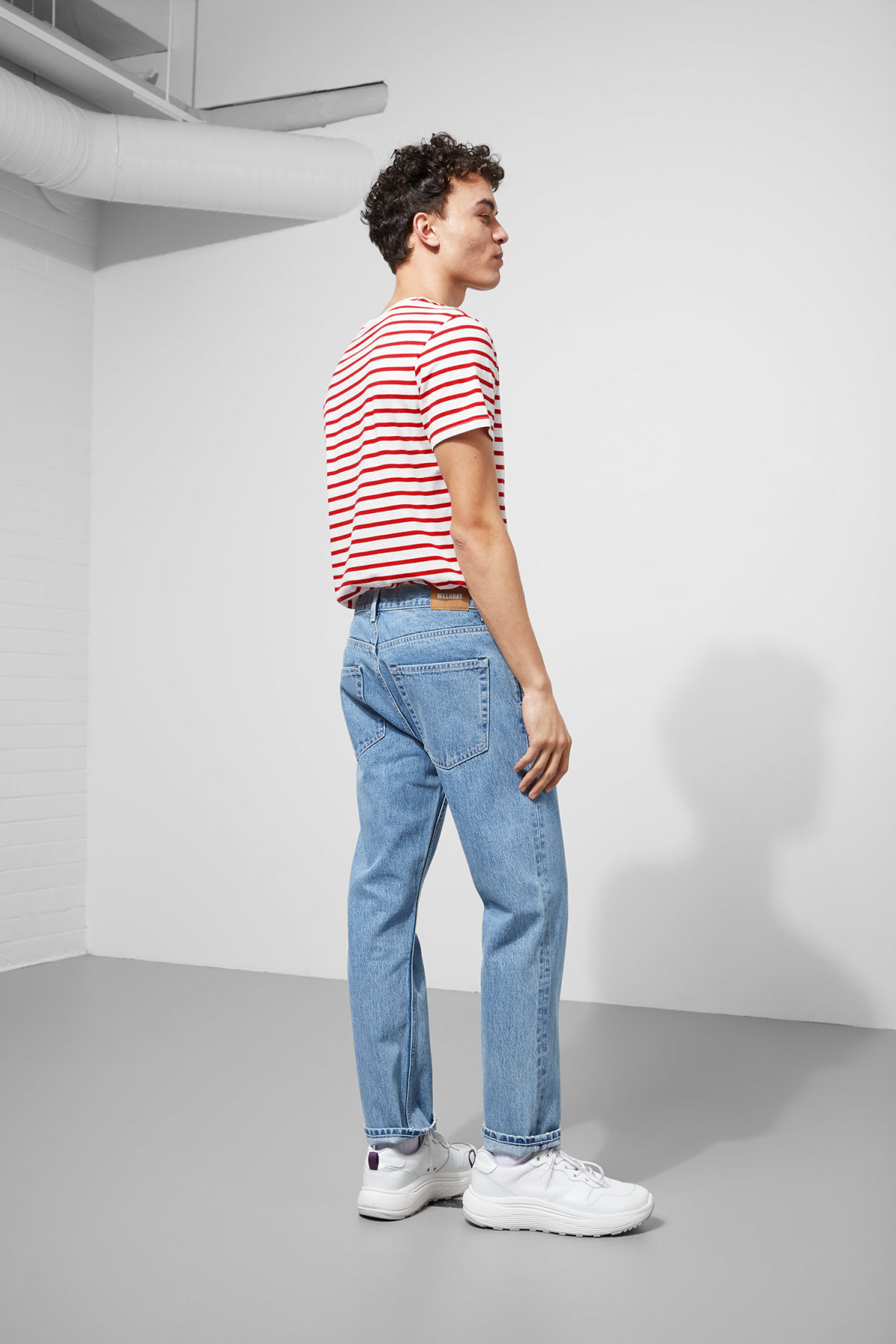 Model back image of Weekday alex stripe t-shirt in red