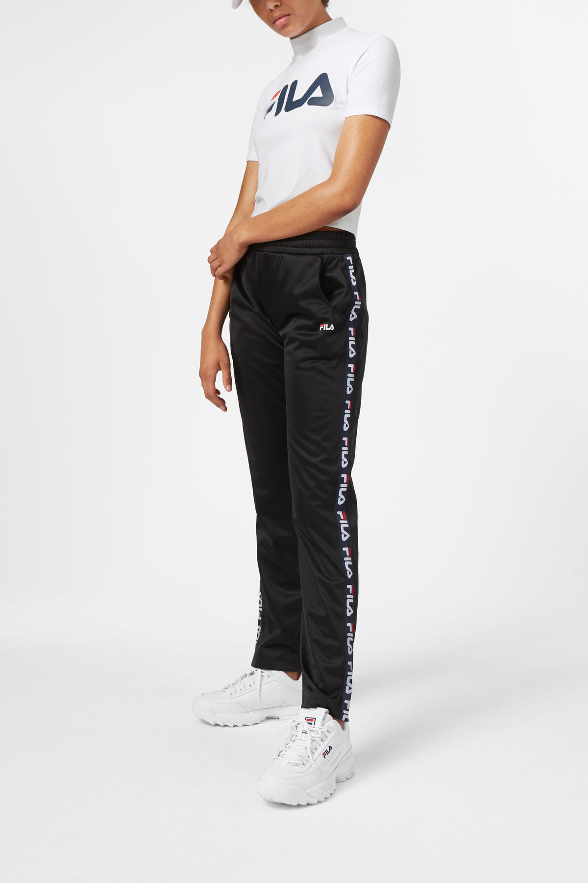 Model front image of Weekday strap track pants in black