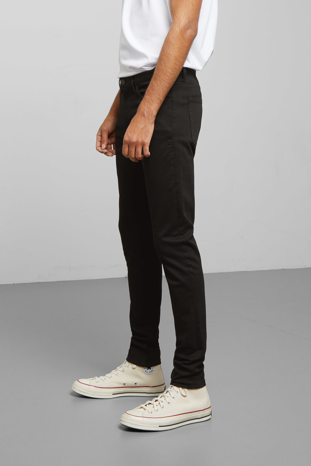 Model side image of Weekday form stay black jeans in black