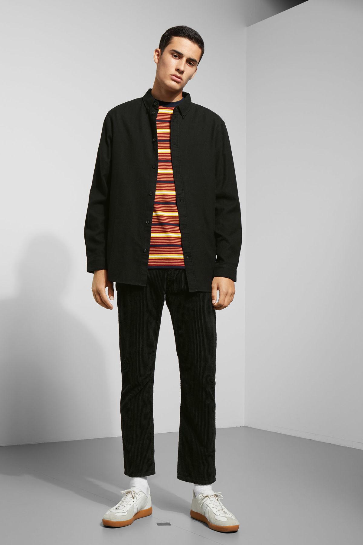 Model side image of Weekday seattle flanell shirt in black