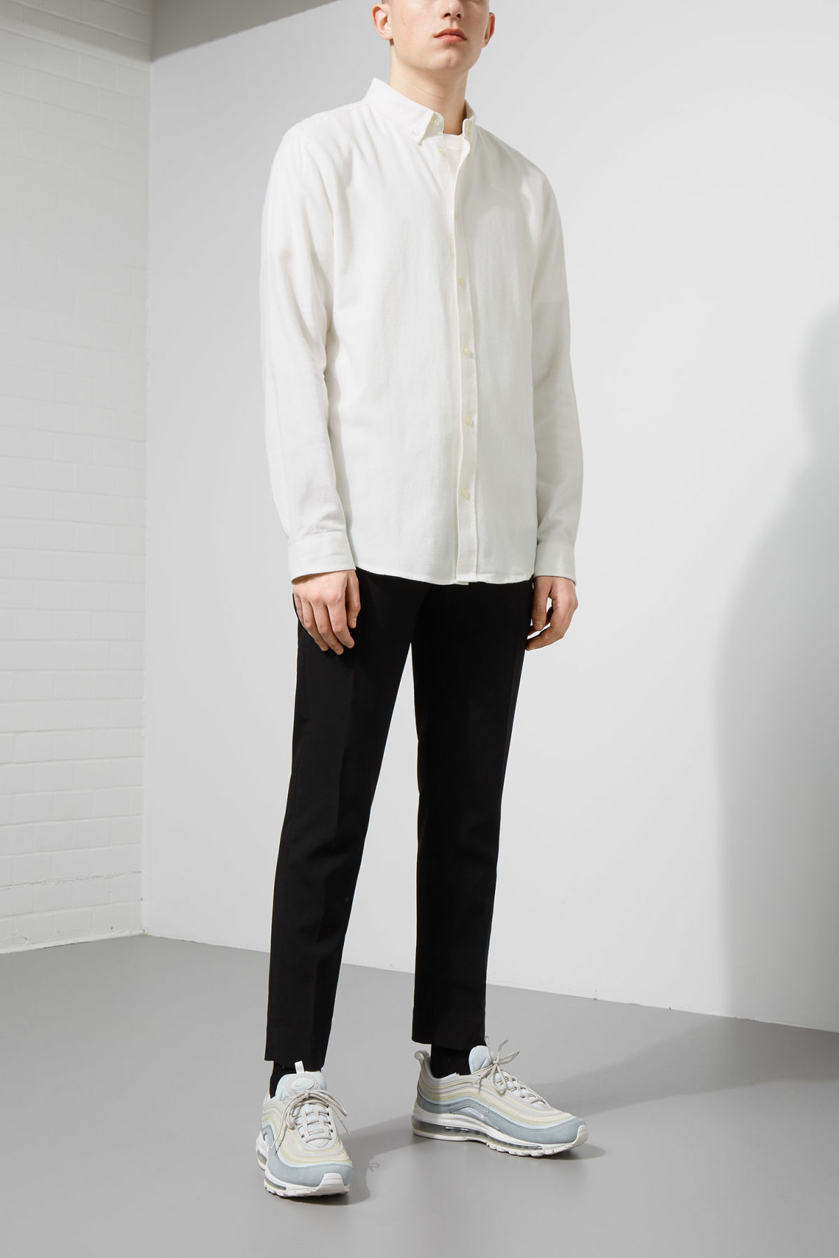 Model side image of Weekday seattle flanell shirt in white