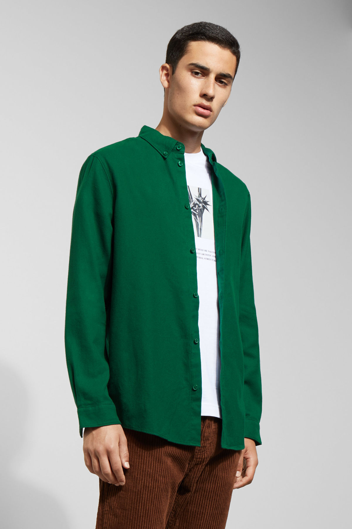 Model front image of Weekday seattle flanell shirt in green