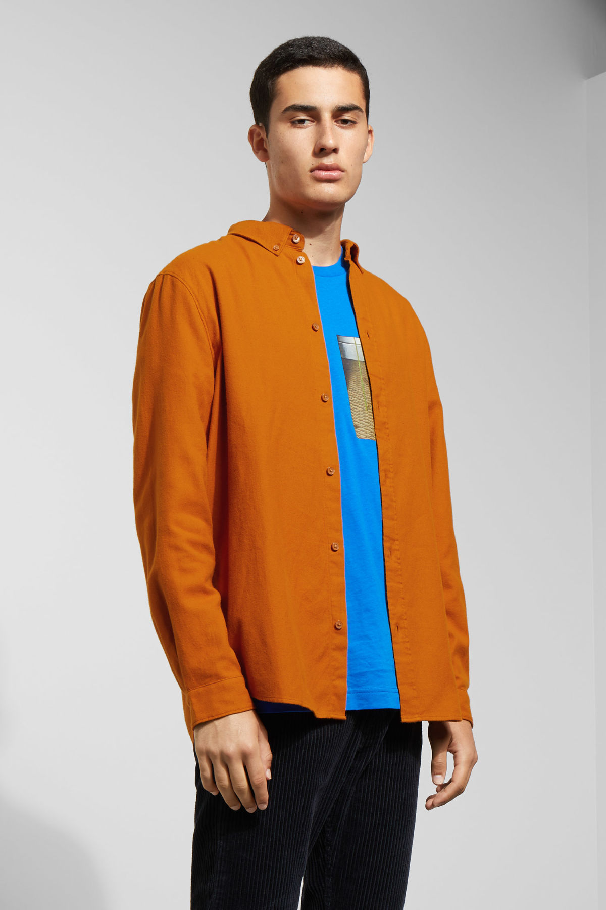Model front image of Weekday seattle flanell shirt in yellow