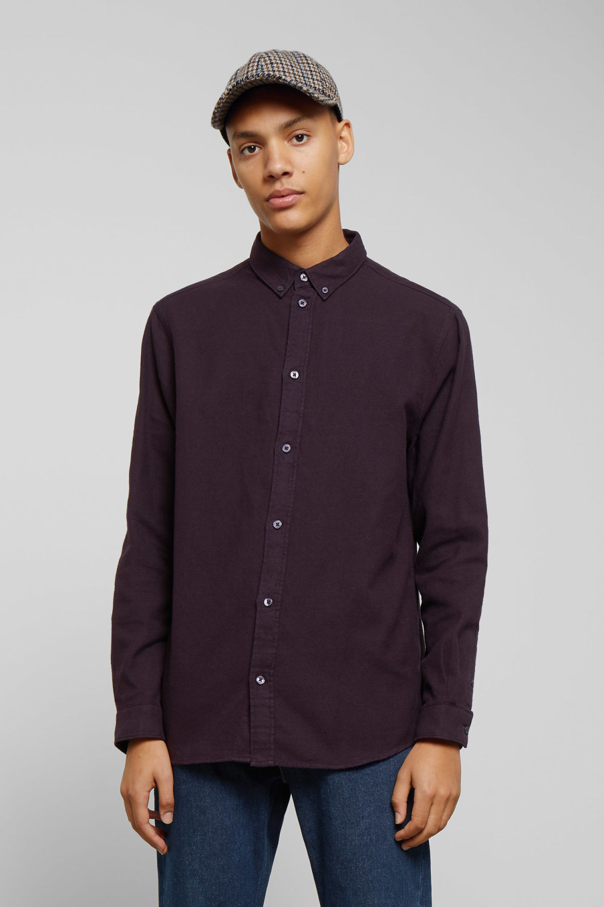 Model front image of Weekday seattle flanell shirt in purple