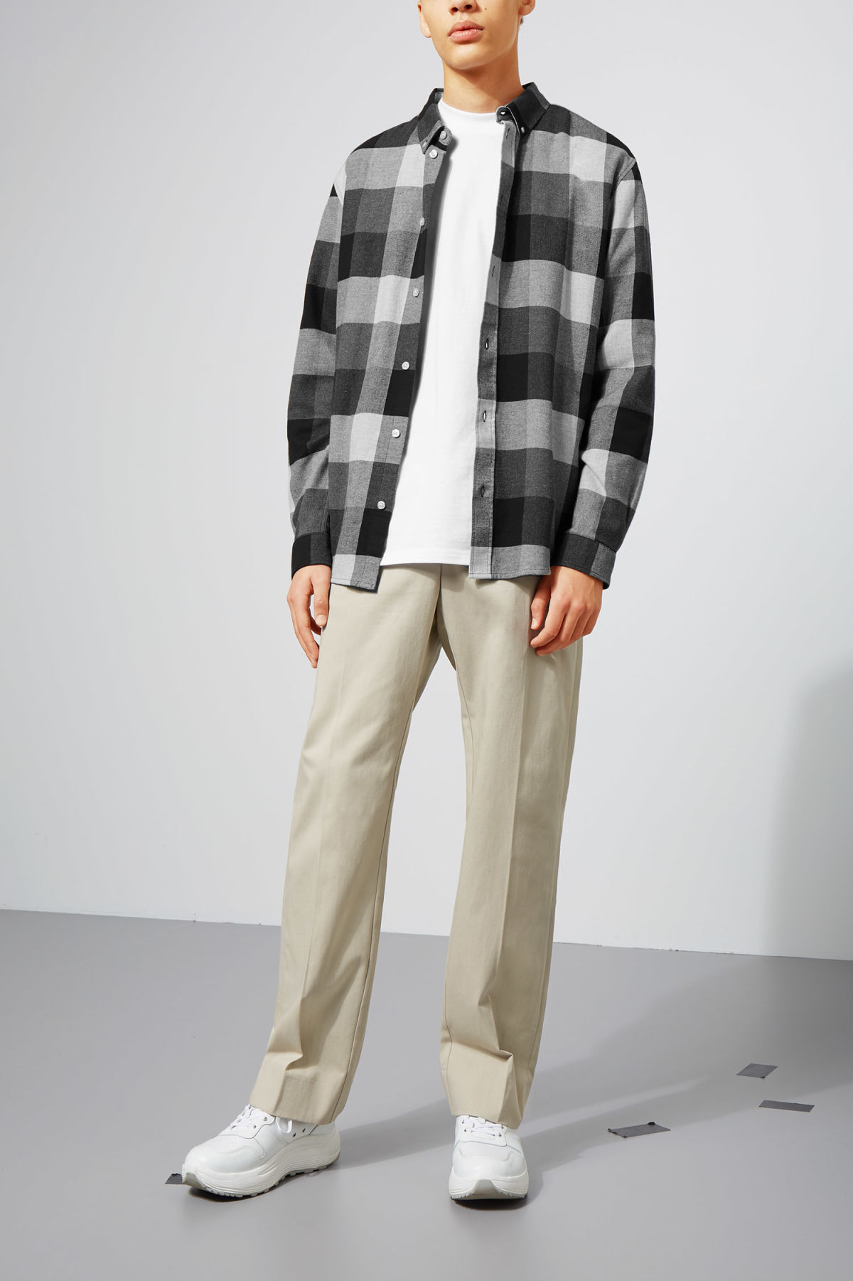Model front image of Weekday seattle check shirt in grey