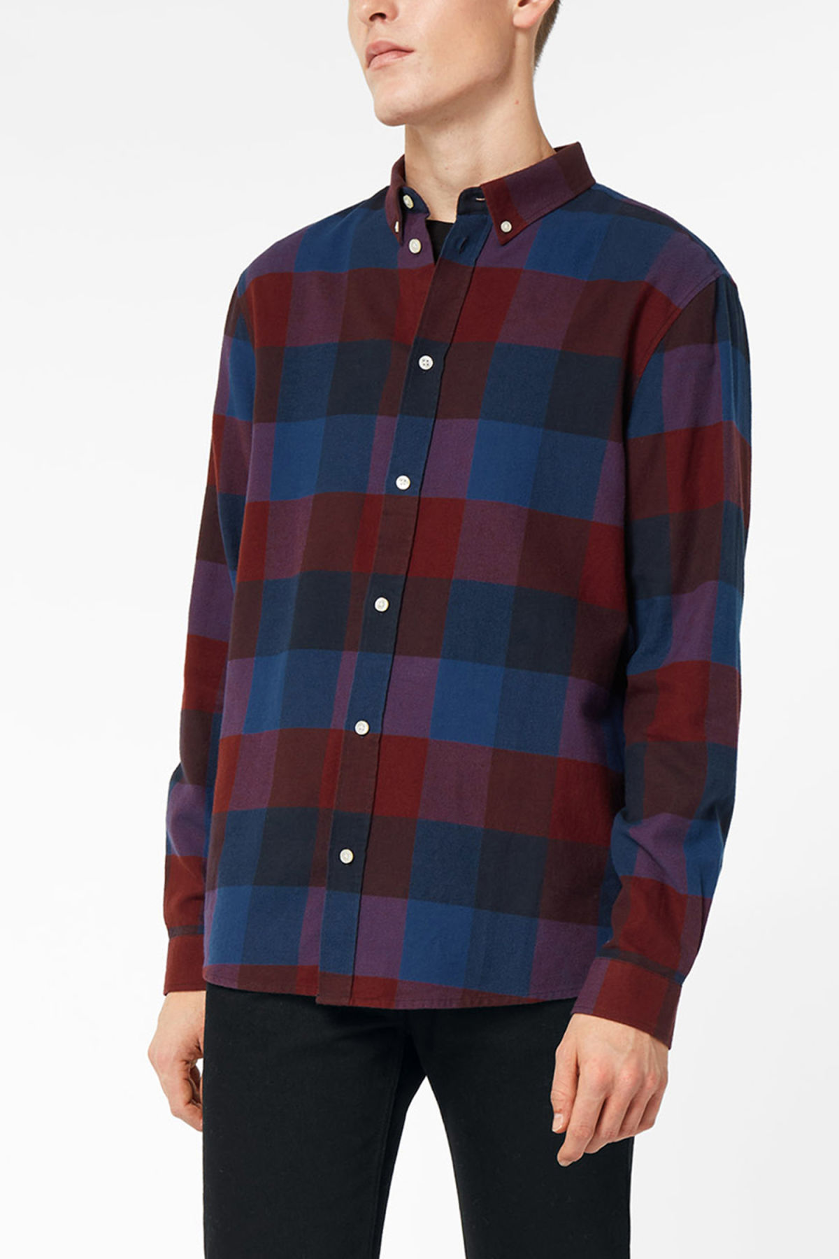 Model front image of Weekday seattle check shirt in red