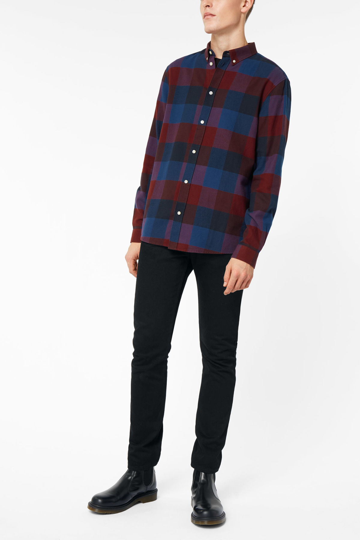 Model side image of Weekday seattle check shirt in red