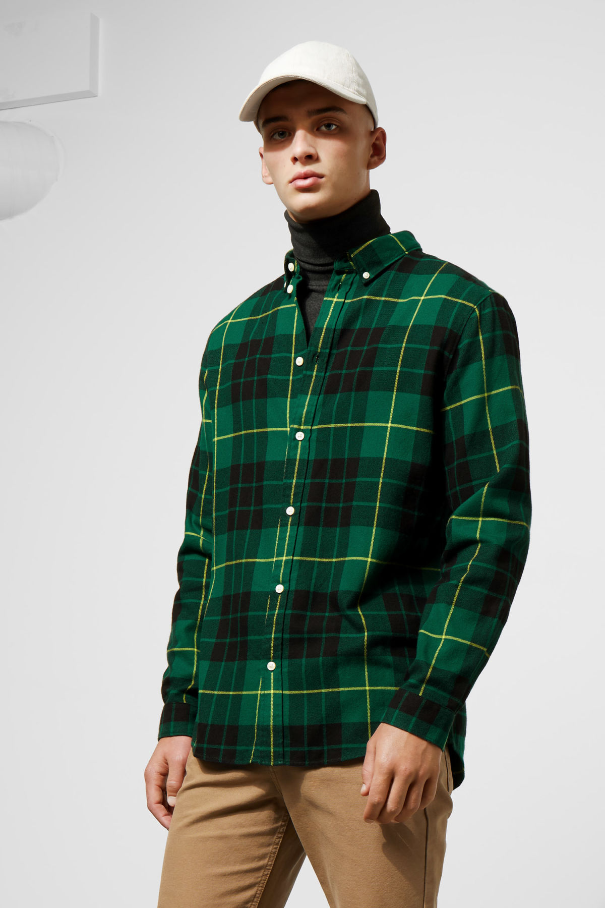 Model front image of Weekday seattle check shirt in green