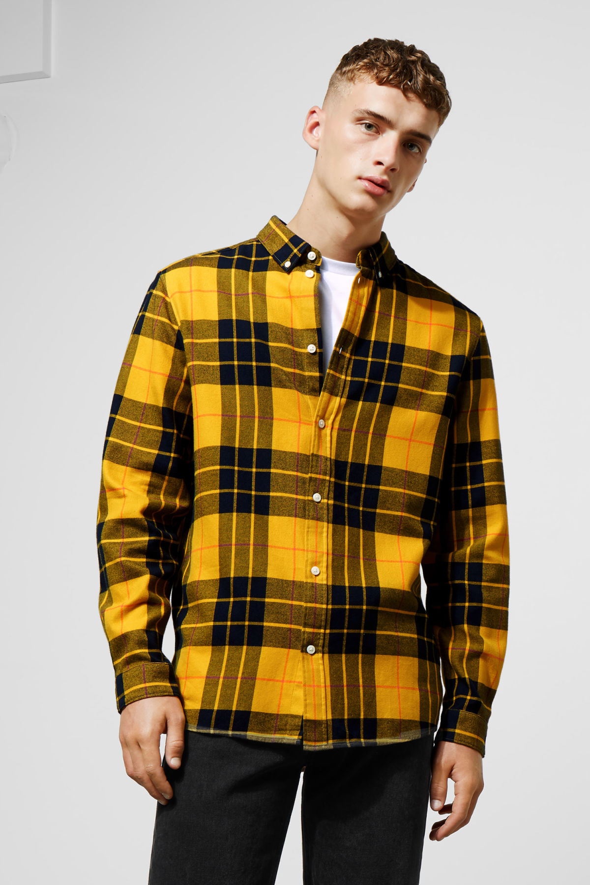 Model front image of Weekday seattle check shirt in yellow