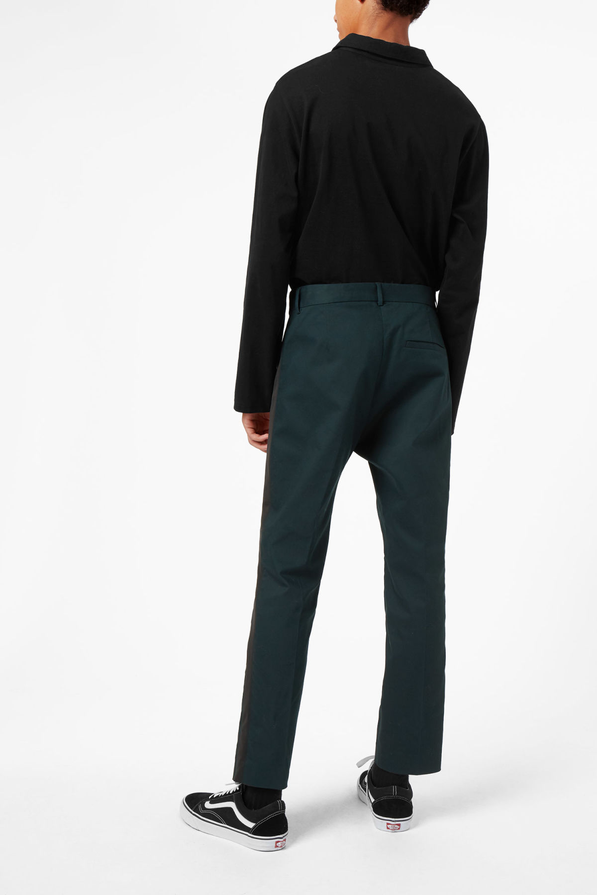 Model side image of Weekday sergei side panel trousers in turquoise