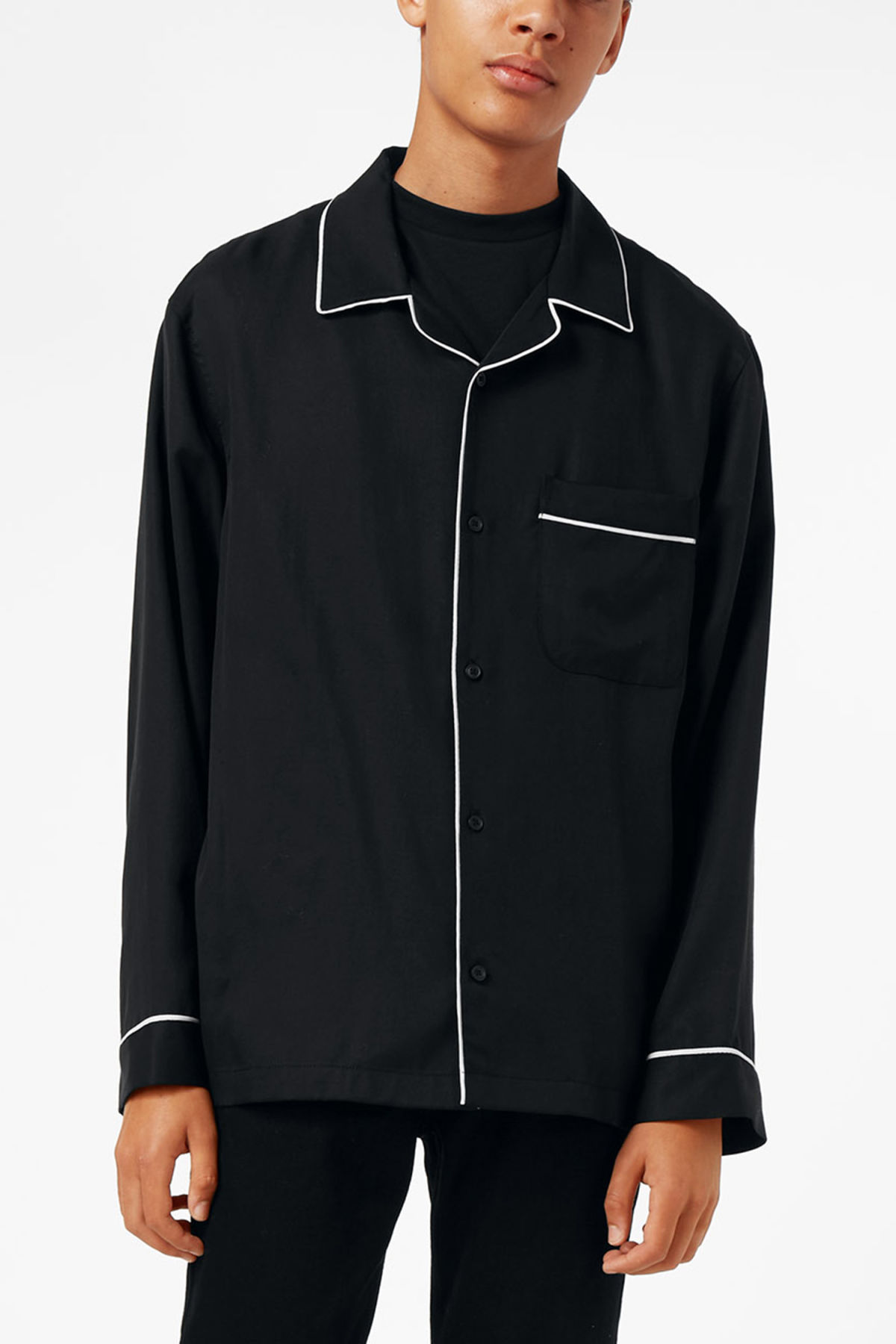 Model front image of Weekday blow pj shirt in black