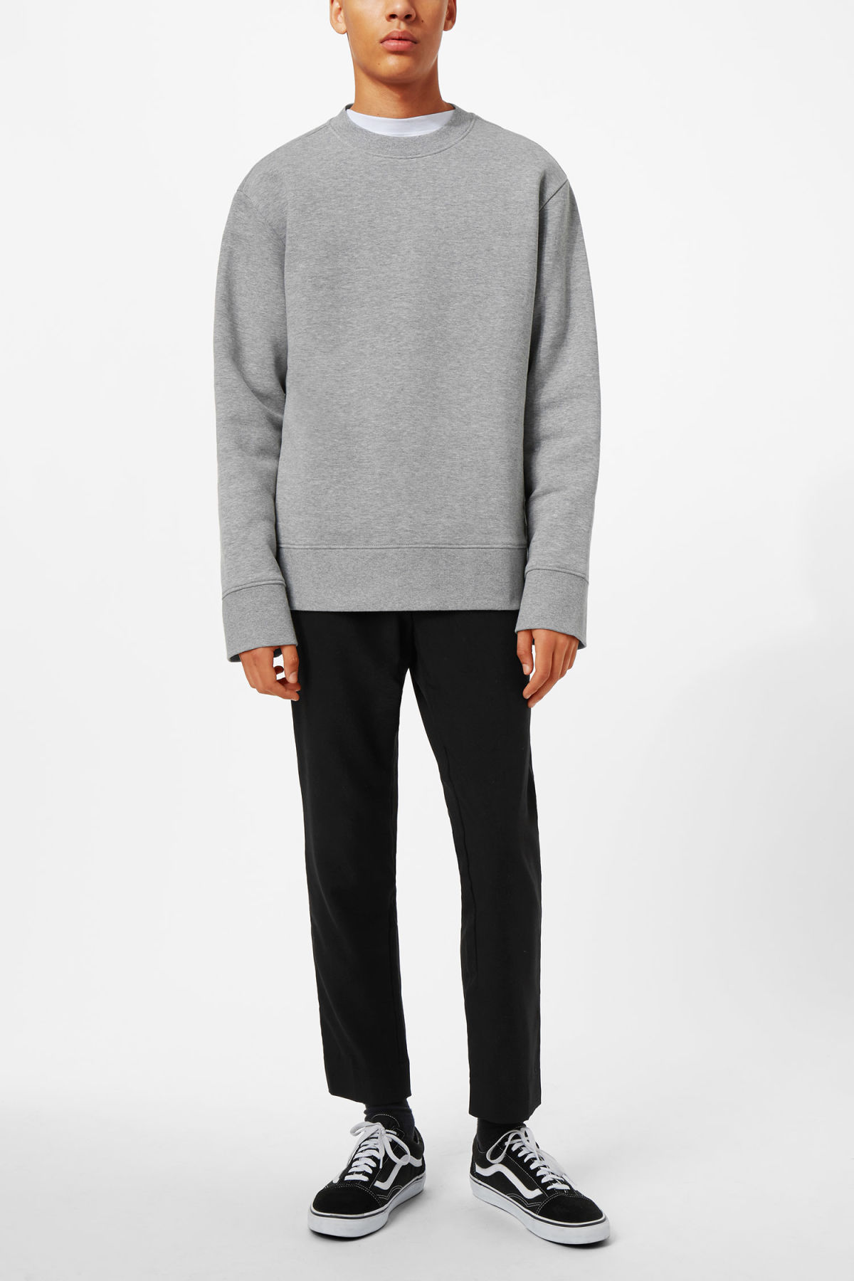 Model side image of Weekday grant zip sweatshirt in grey