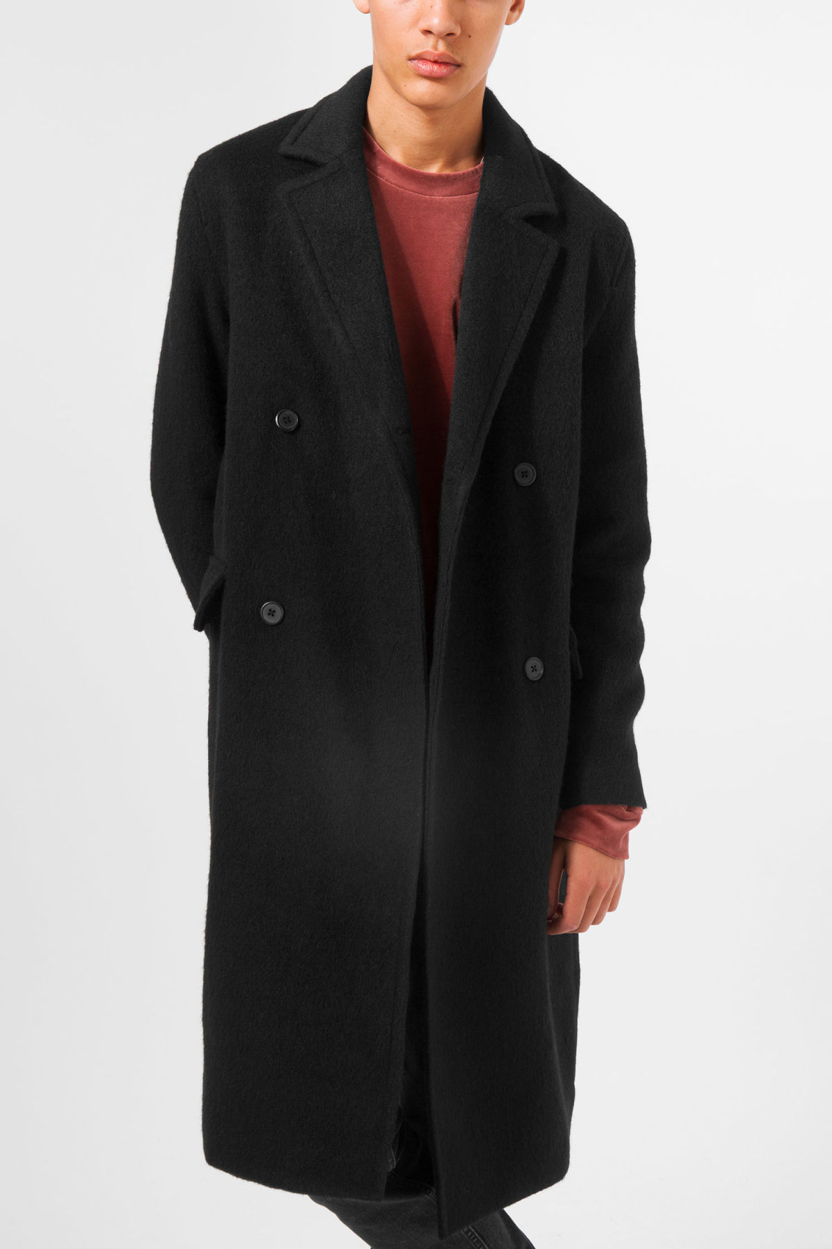 Model front image of Weekday tristan coat in black