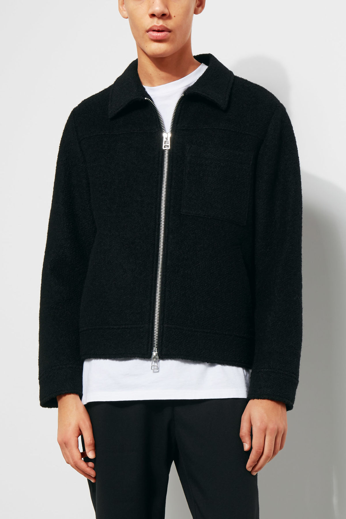 Model front image of Weekday merz jacket in black