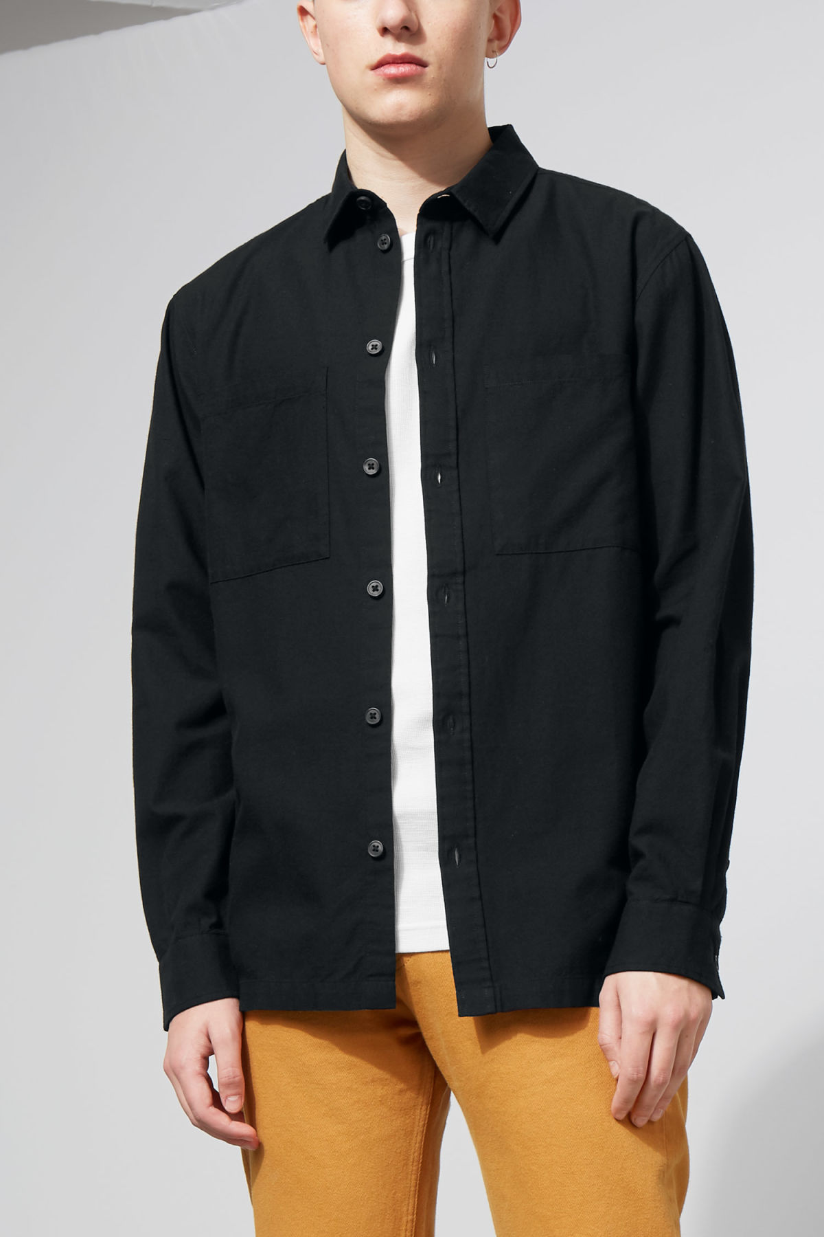 Model front image of Weekday herbert shirt in black