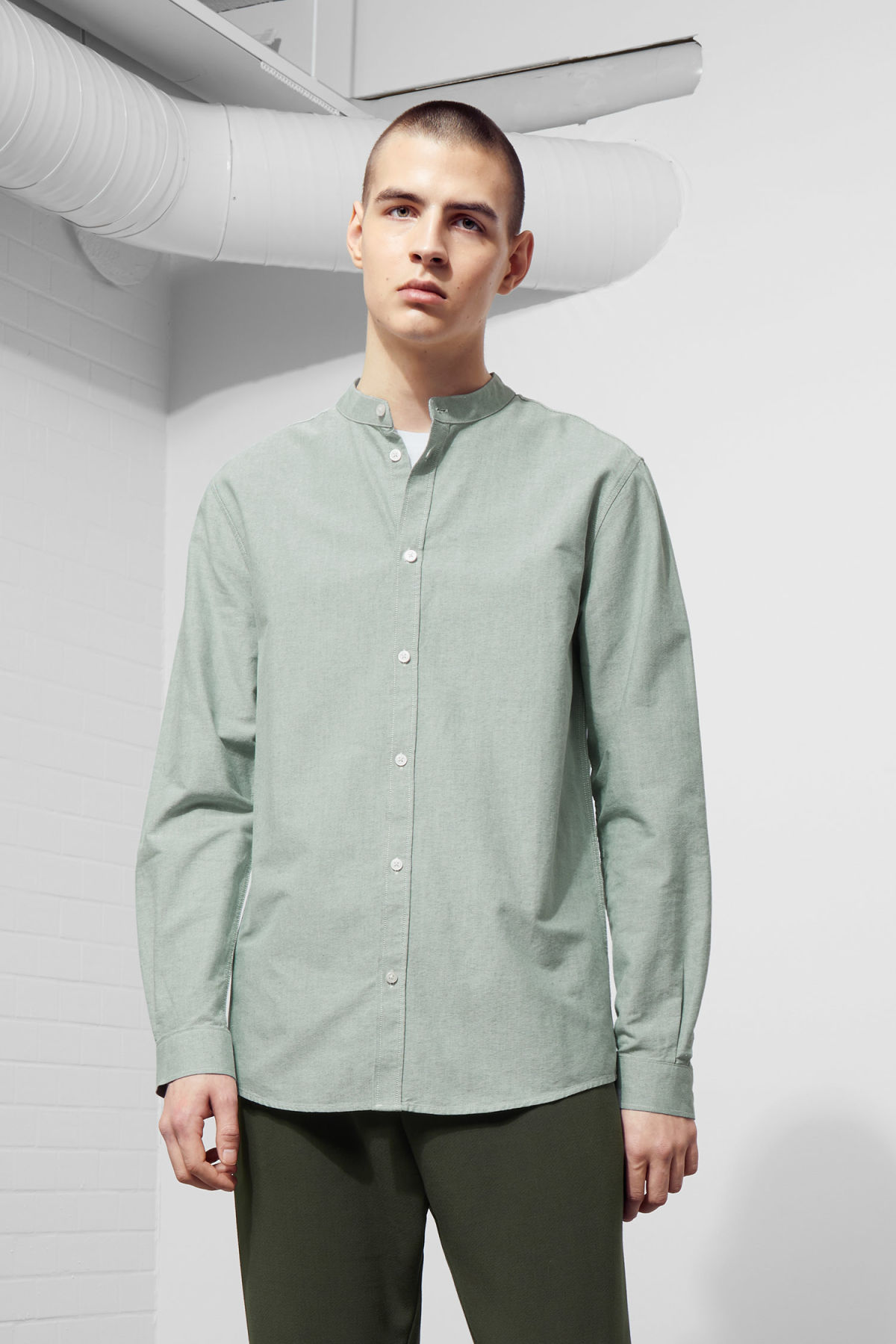 Model front image of Weekday haring collarless shirt in green