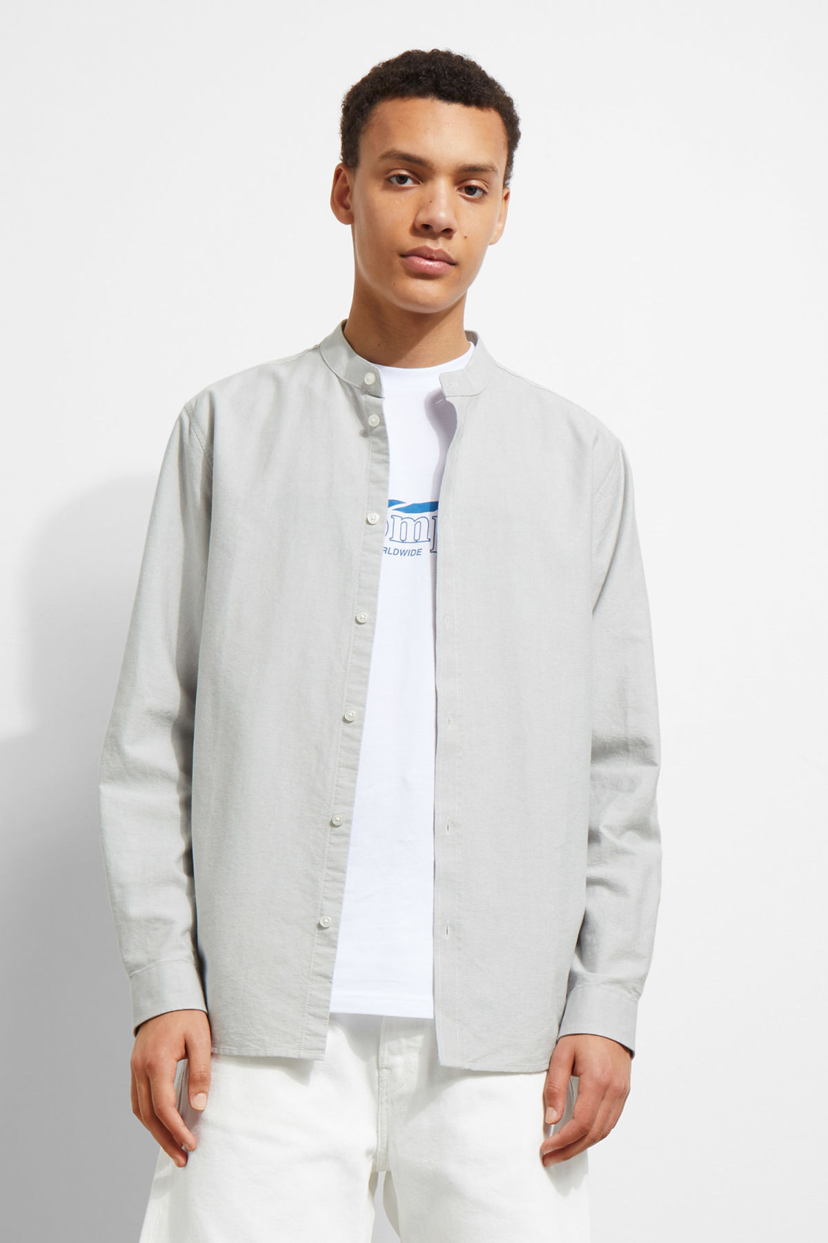 Model front image of Weekday haring collarless shirt in grey