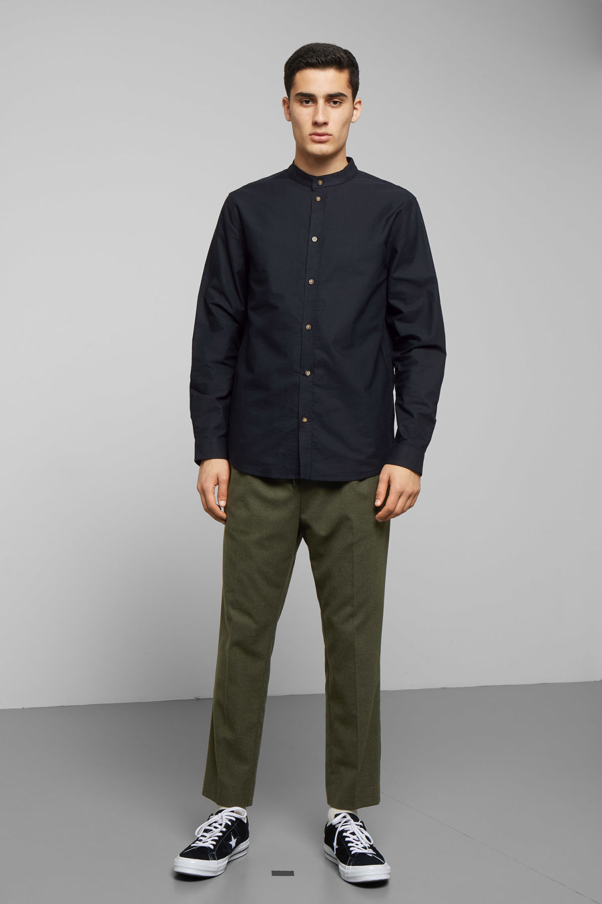 Model side image of Weekday haring collarless shirt in black