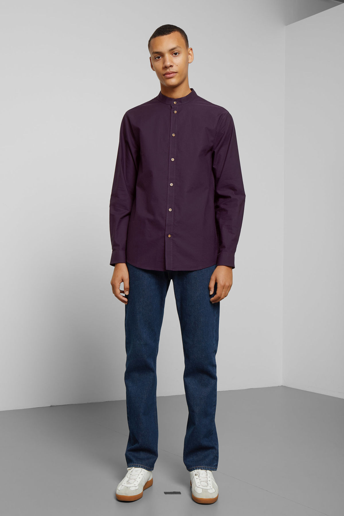 Model side image of Weekday haring collarless shirt in purple