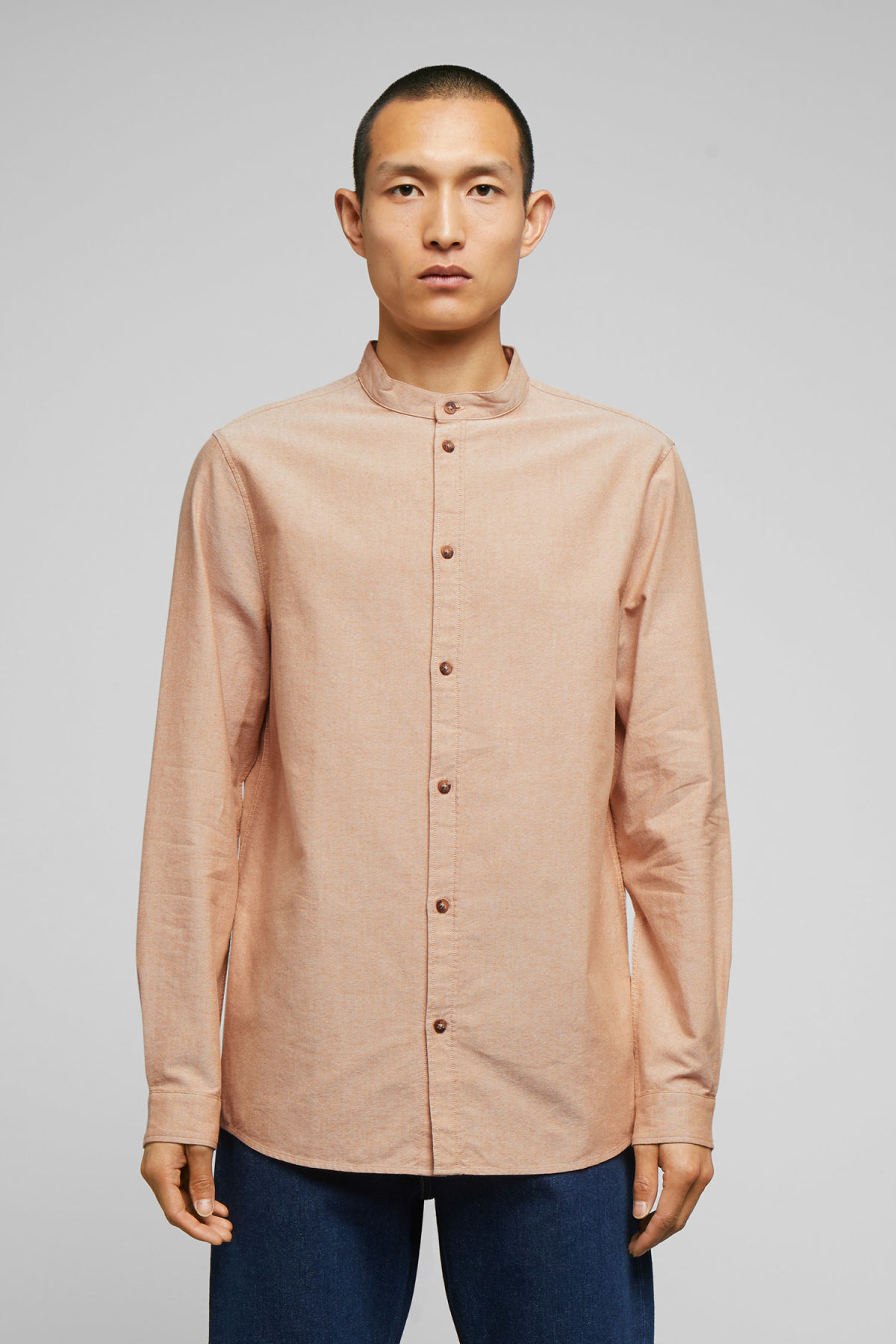 Model front image of Weekday haring collarless shirt in yellow