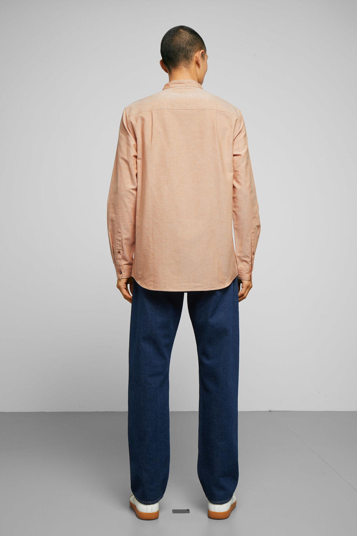 Model side image of Weekday haring collarless shirt in yellow
