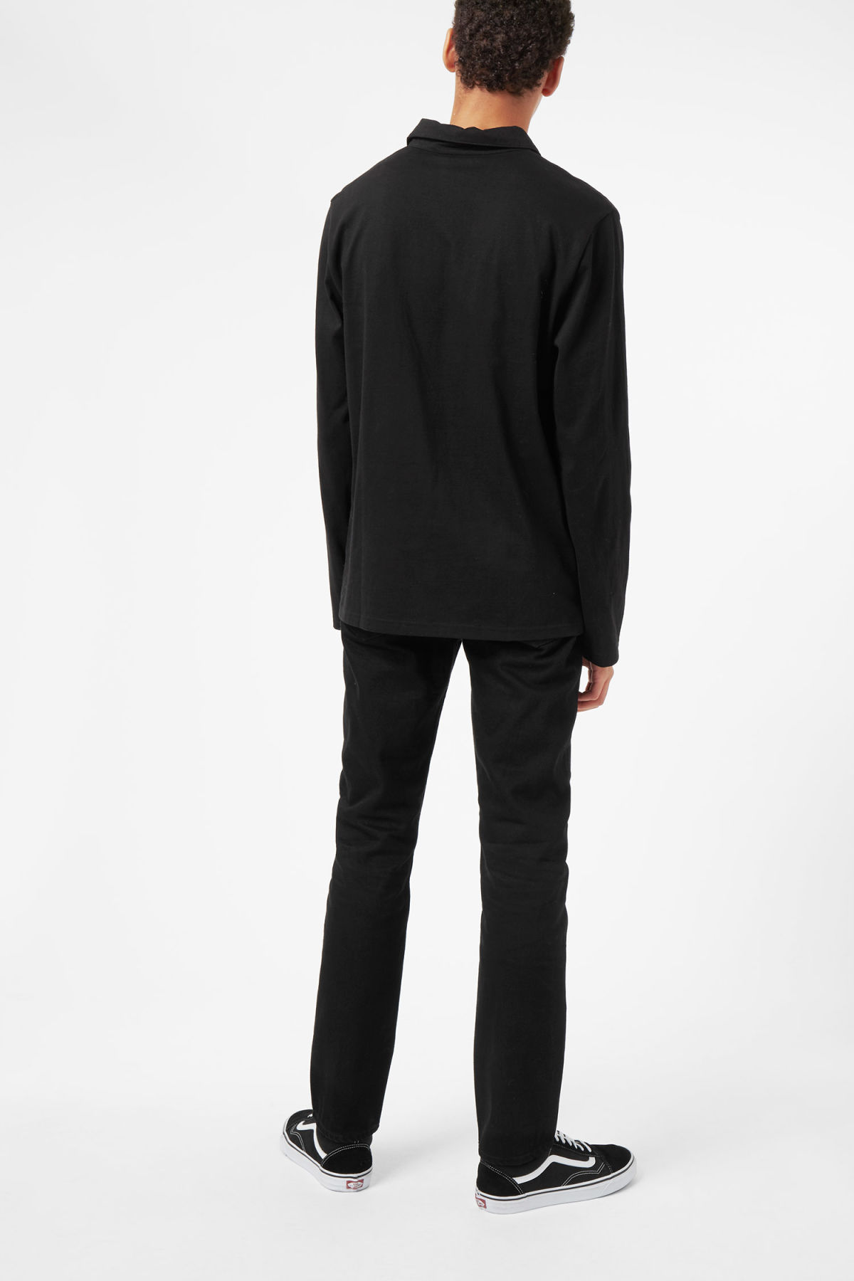Model back image of Weekday pop polo long sleeve in black