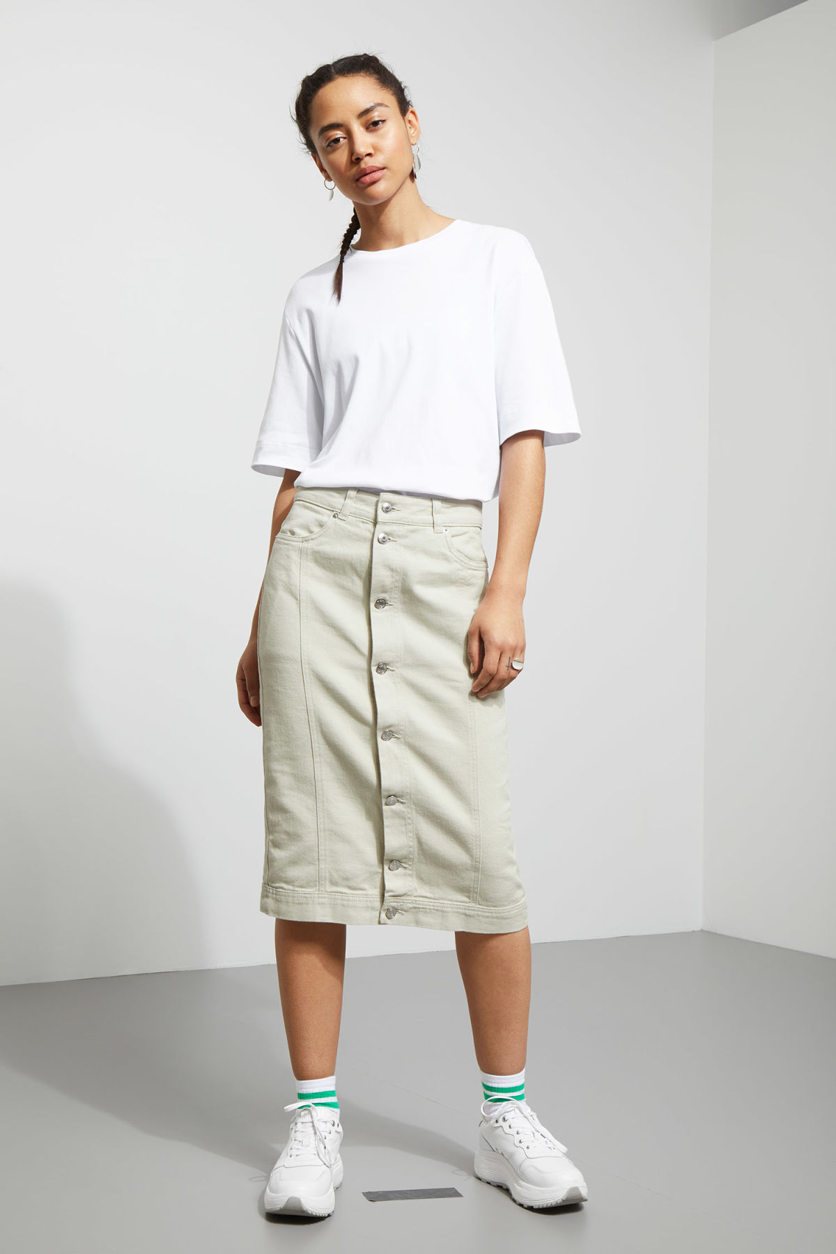 Model front image of Weekday sign skirt in beige