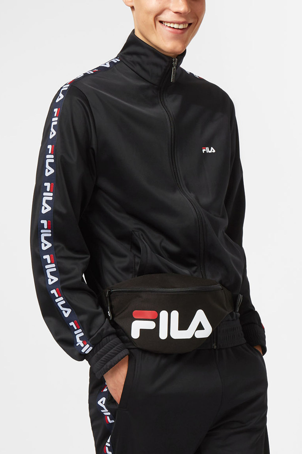 Model front image of Weekday strap track jacket in black