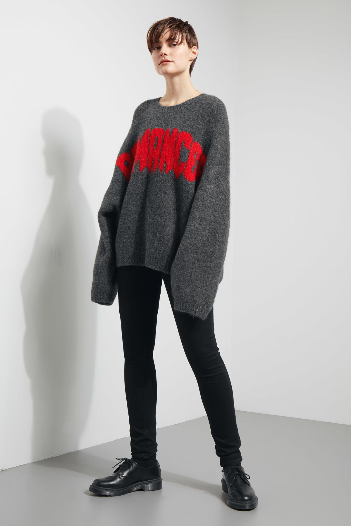 Model side image of Weekday lotta jaquard sweater in grey