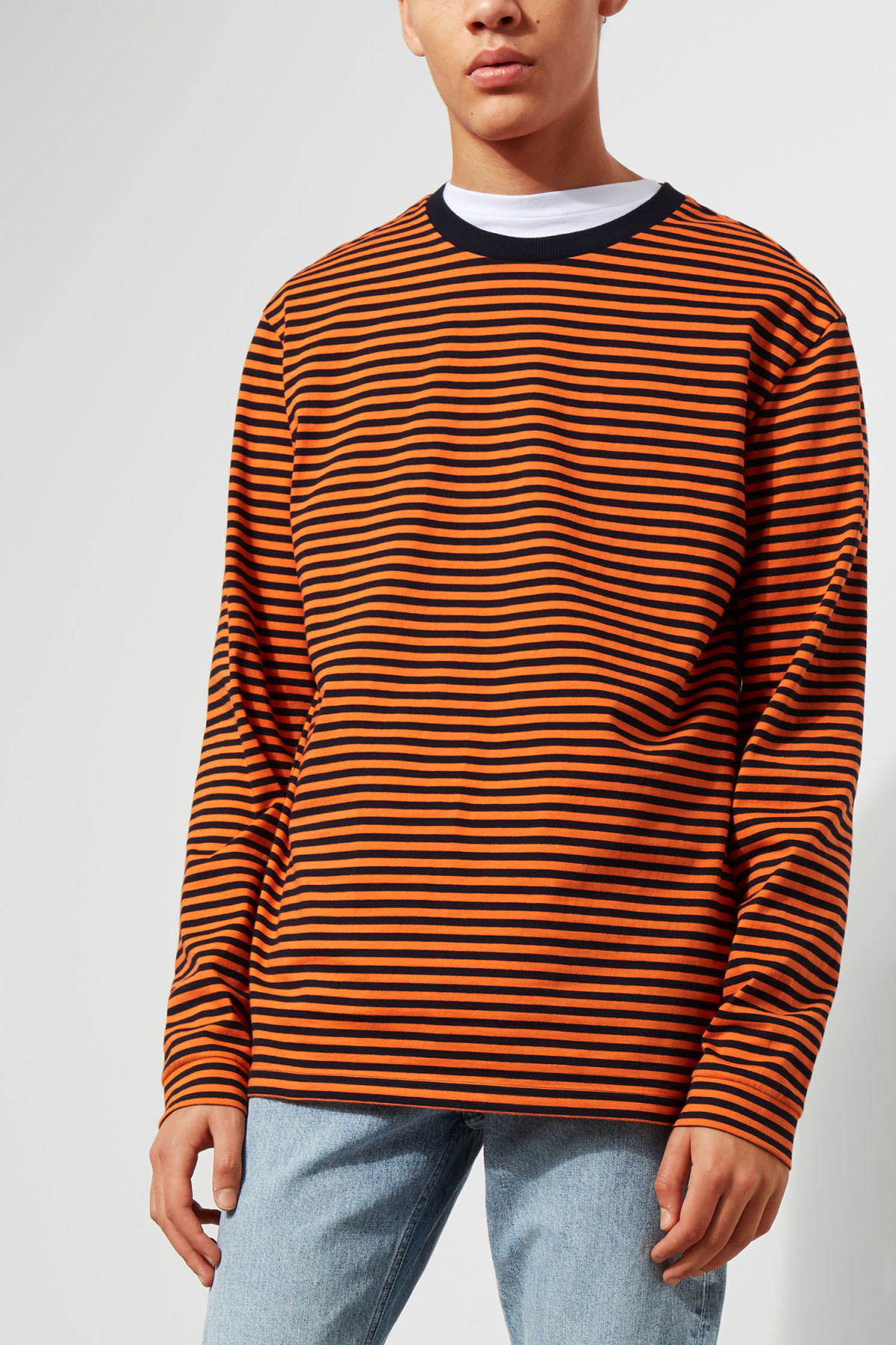 Model front image of Weekday leonardo stripe long sleeve in orange