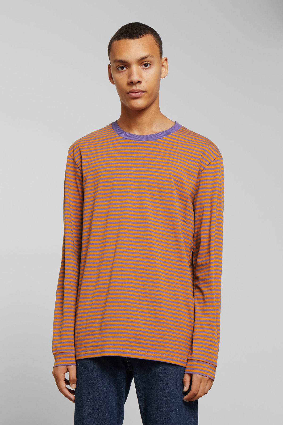 Model front image of Weekday leonardo stripe long sleeve in yellow