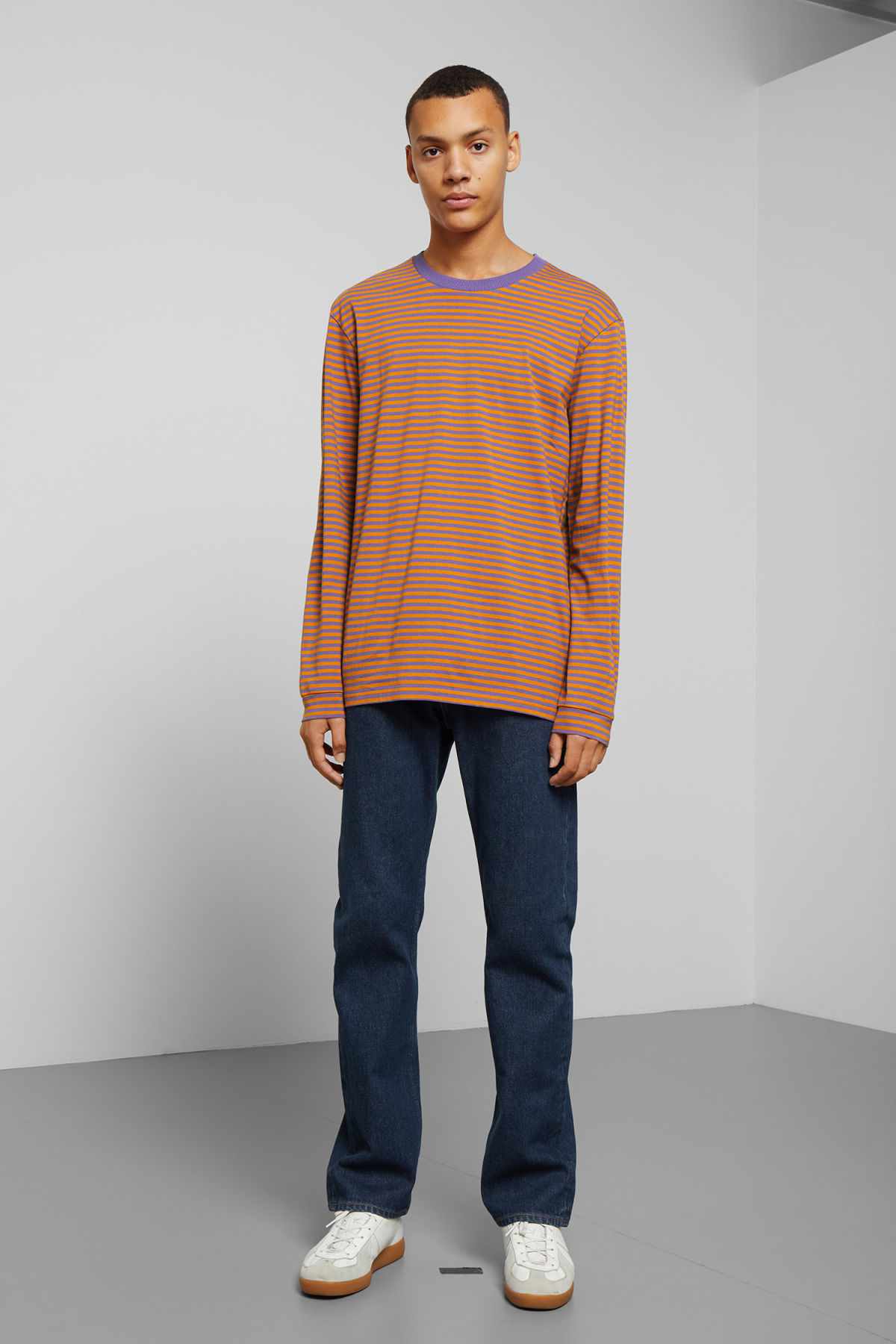 Model side image of Weekday leonardo stripe long sleeve in yellow